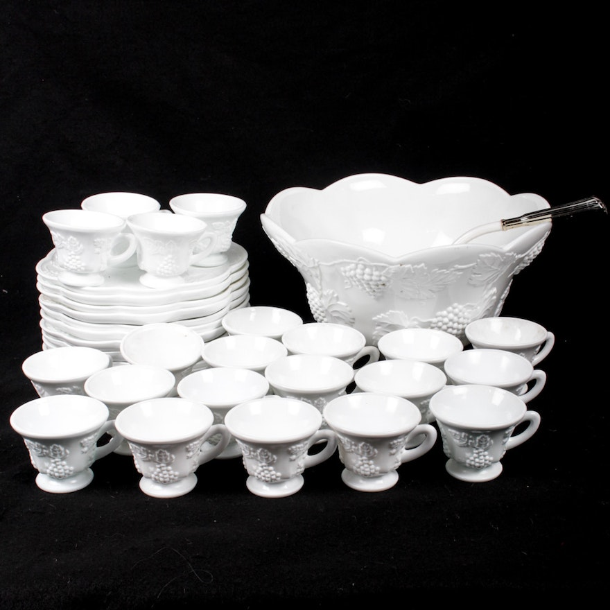 Milk Glass Rare Westmoreland Glass Dresser Set Panel Grape Pattern