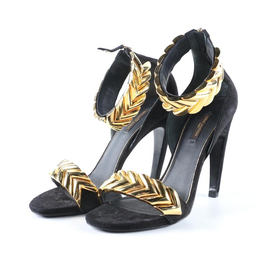 2482a67e3068d9 Louis Vuitton of Paris Black Suede Symphony Strap High-Heeled Sandals   EBTH