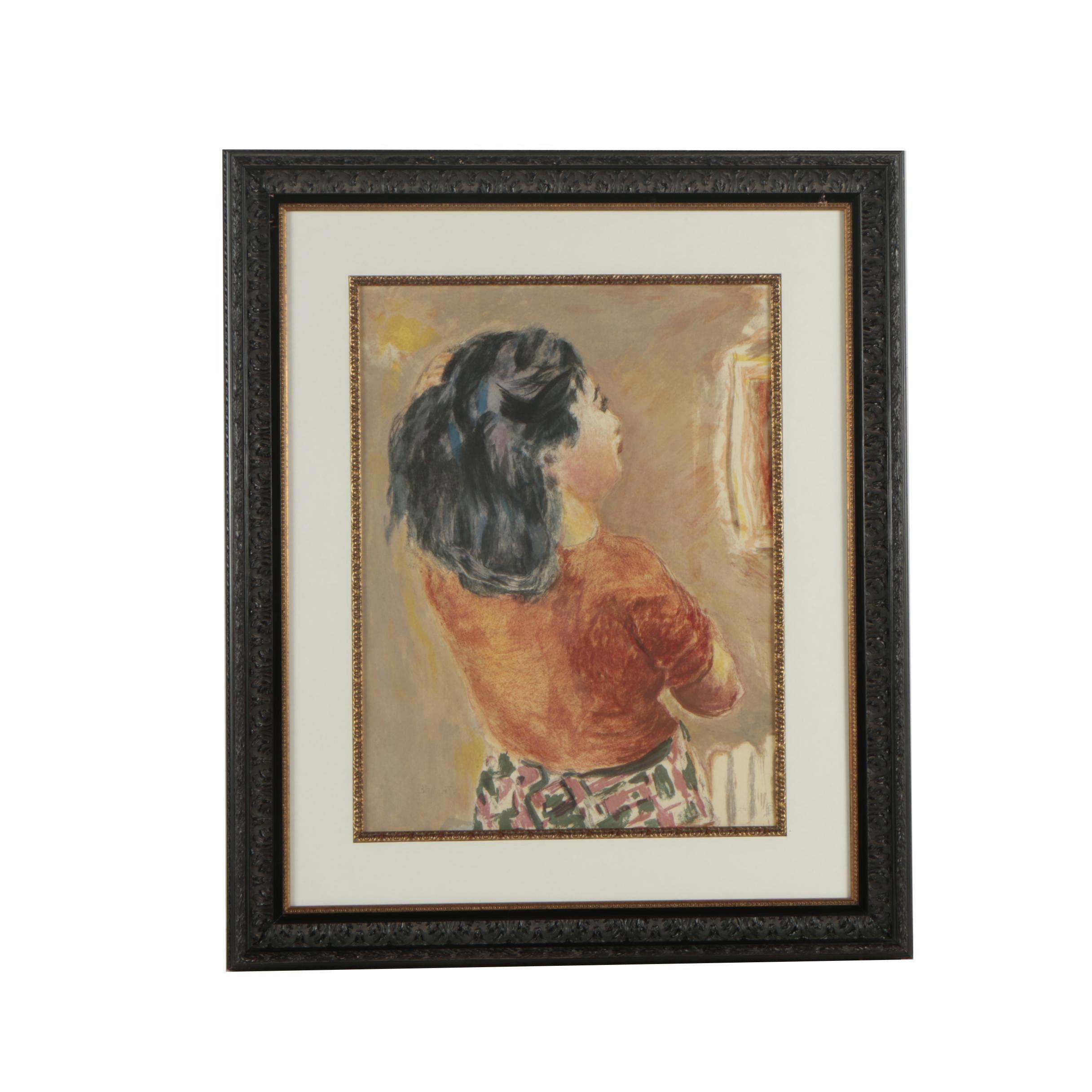 """Jacques Villon Color Lithograph After Pierre Bonnard """"Jeune Fille Vue de Dos"""""""