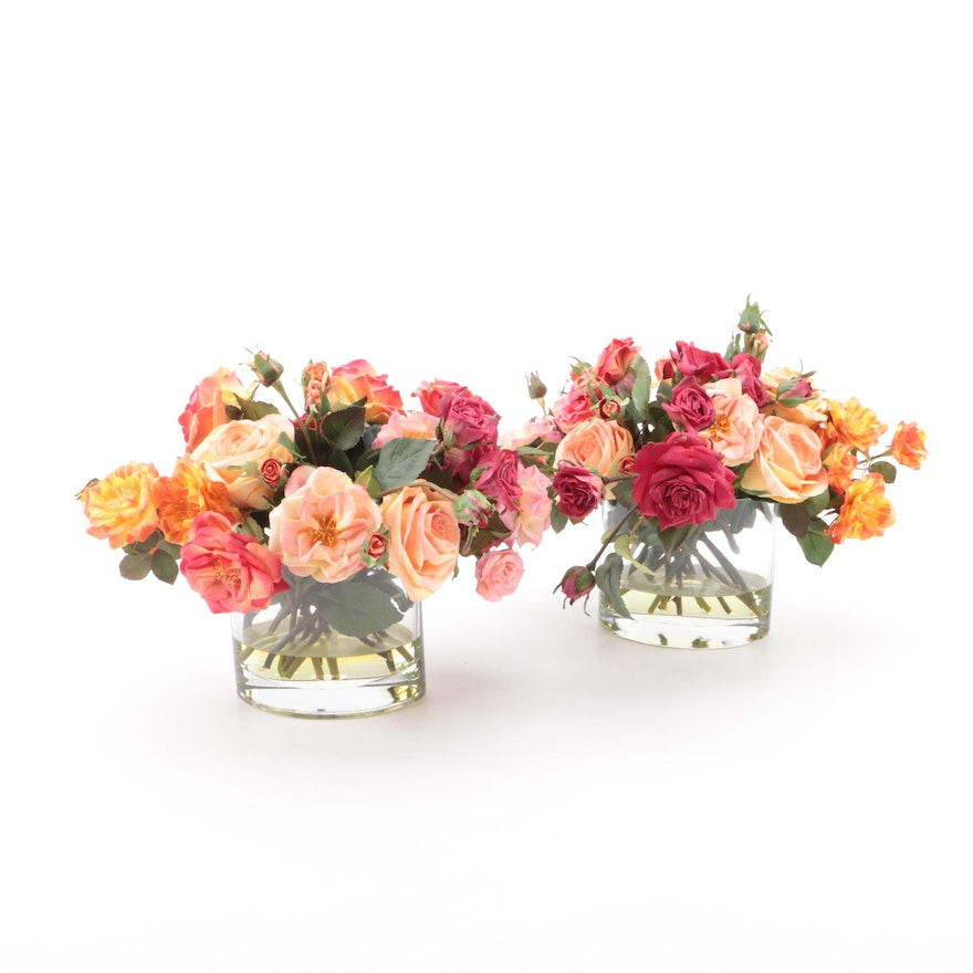 Pair Of Faux Flower Arrangements In Clear Resin With Glass Vases Ebth