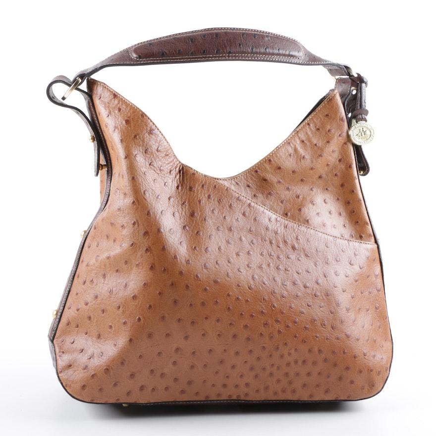 Brahmin Ostrich Embossed Leather Shoulder Bag