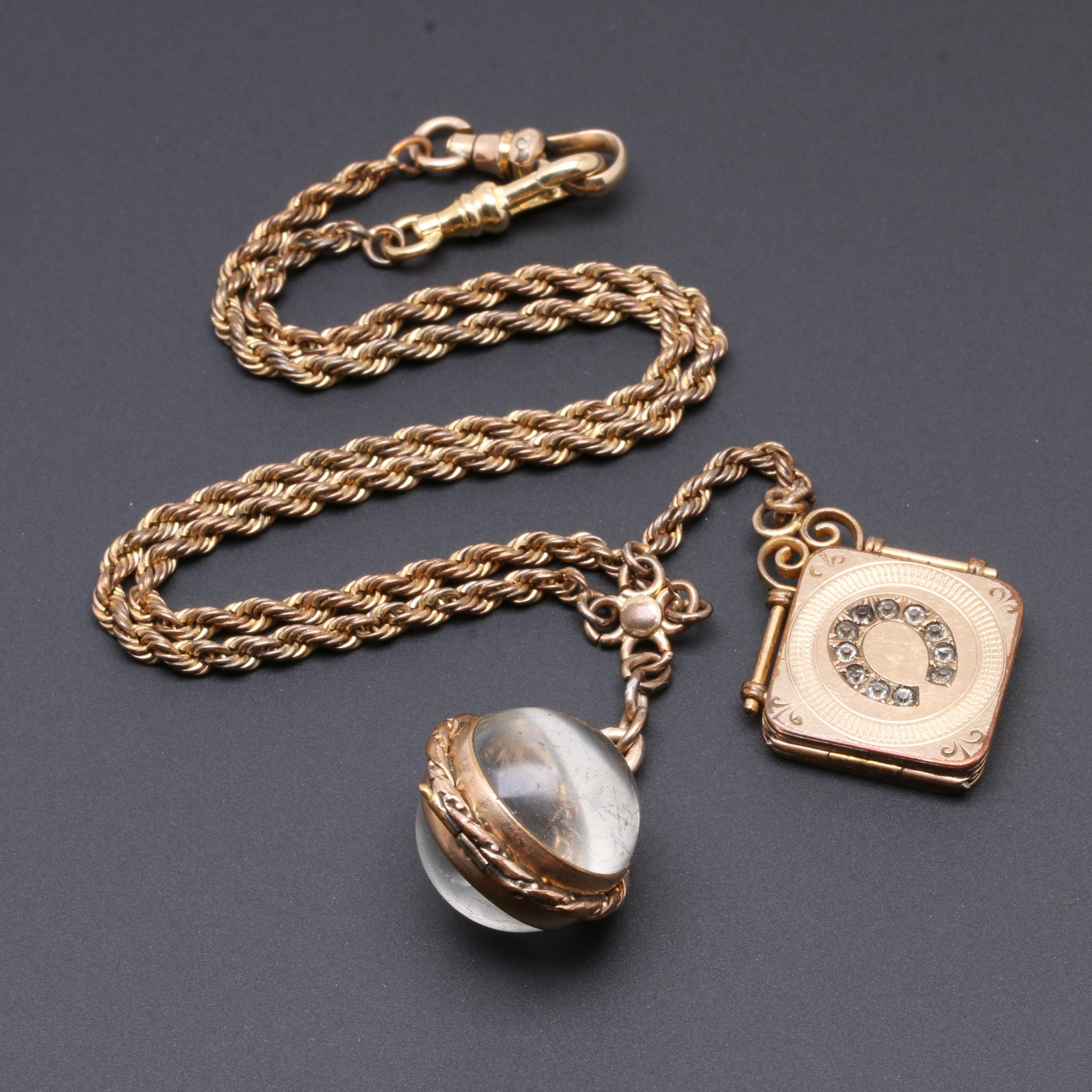 Victorian Fob Chain With Horseshoe and Glass Sphere Locket Charms