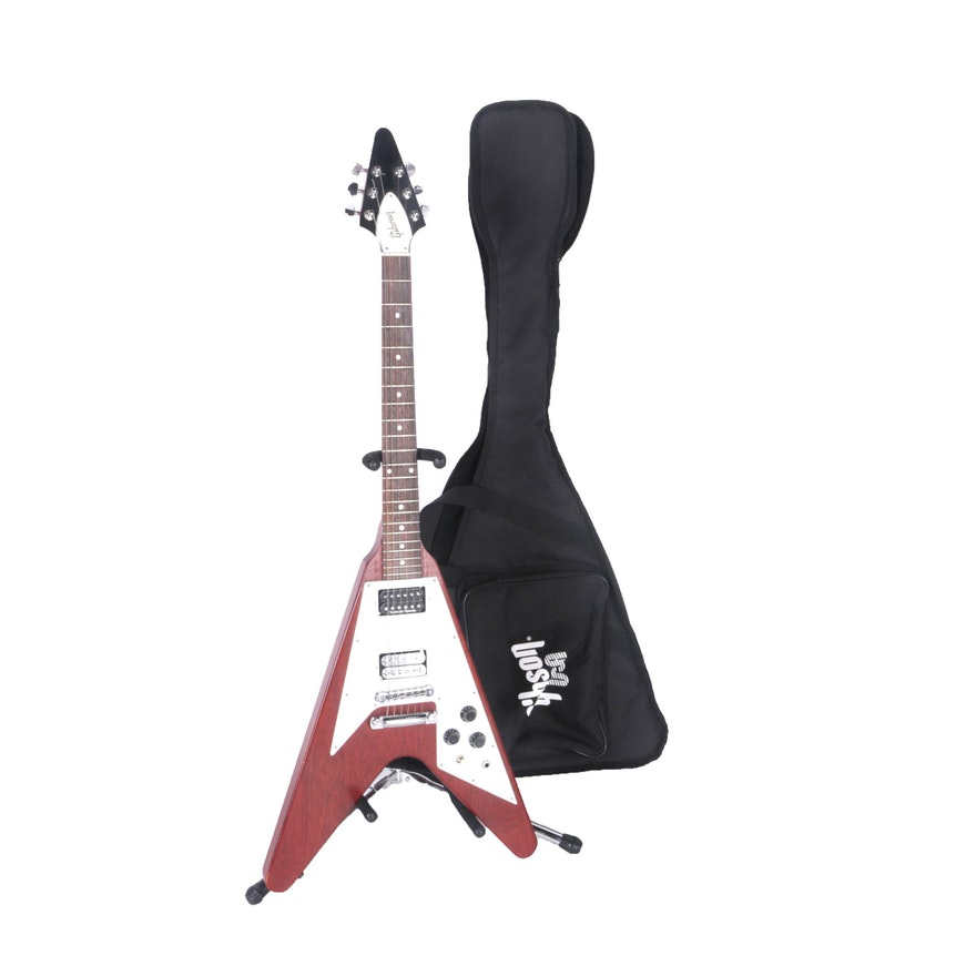 5c11795e7b 2006 Gibson Flying V Electric Guitar with Gig Bag and Stand | EBTH