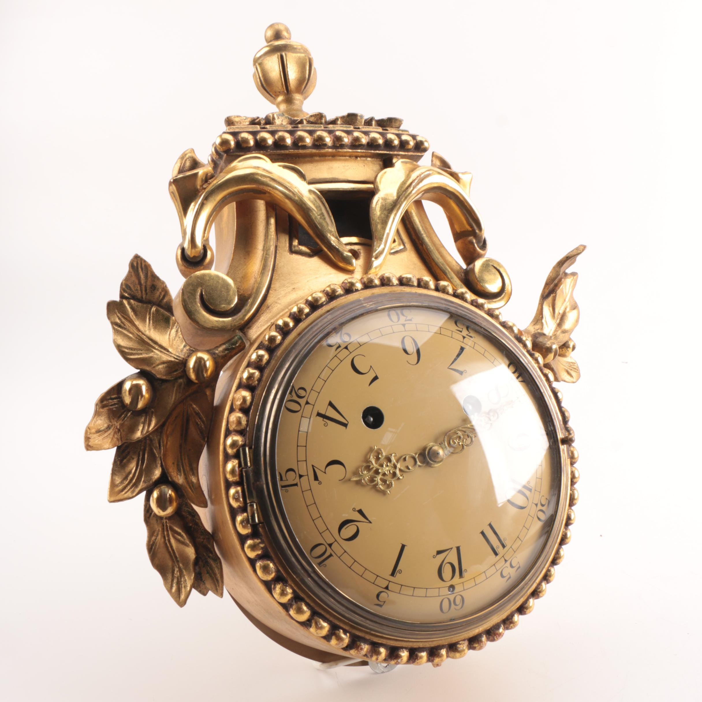 Vintage Swedish Westerstrand Rococo Style Cartel Wall Clock