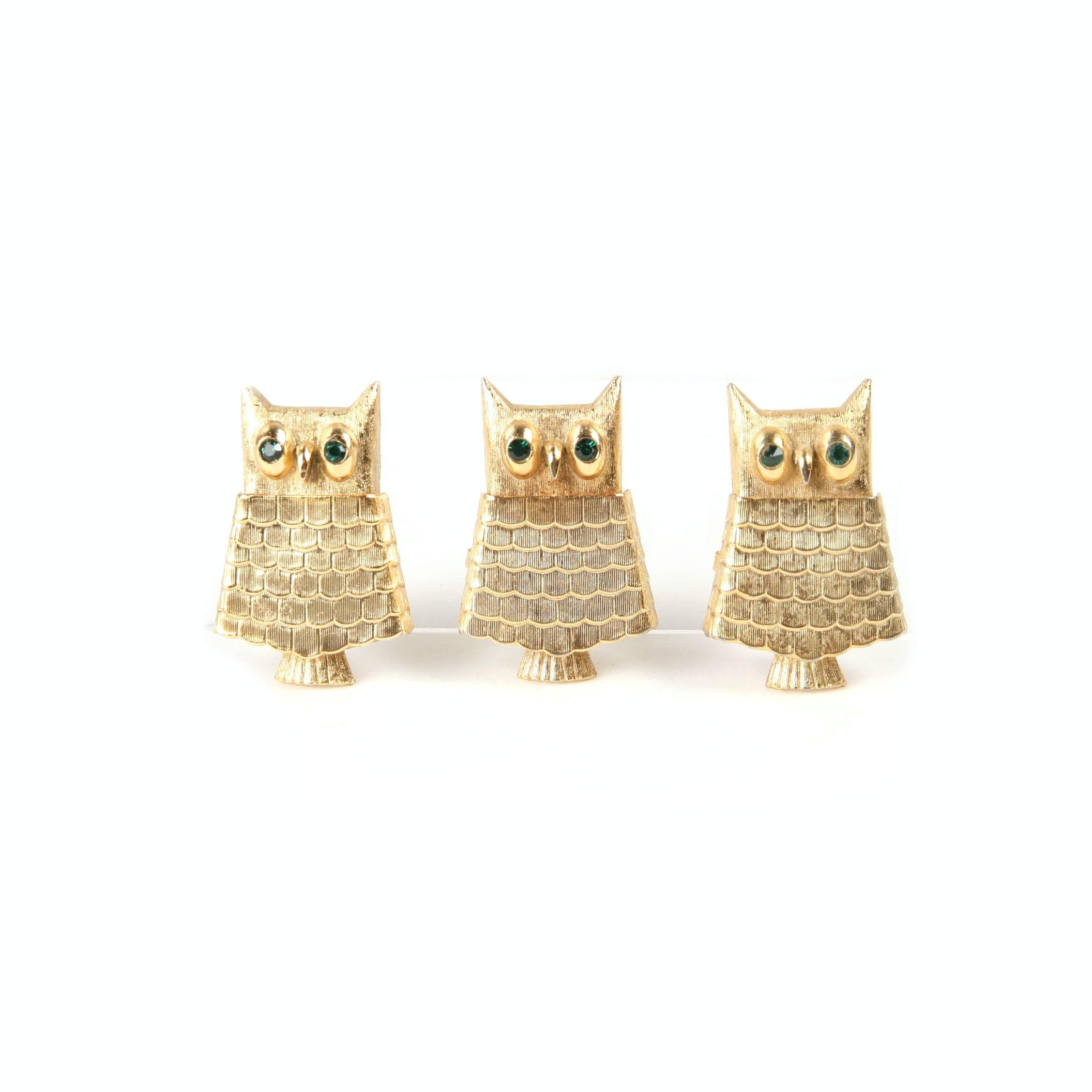 Three Vintage Collectible Avon Owl Perfume Brooches