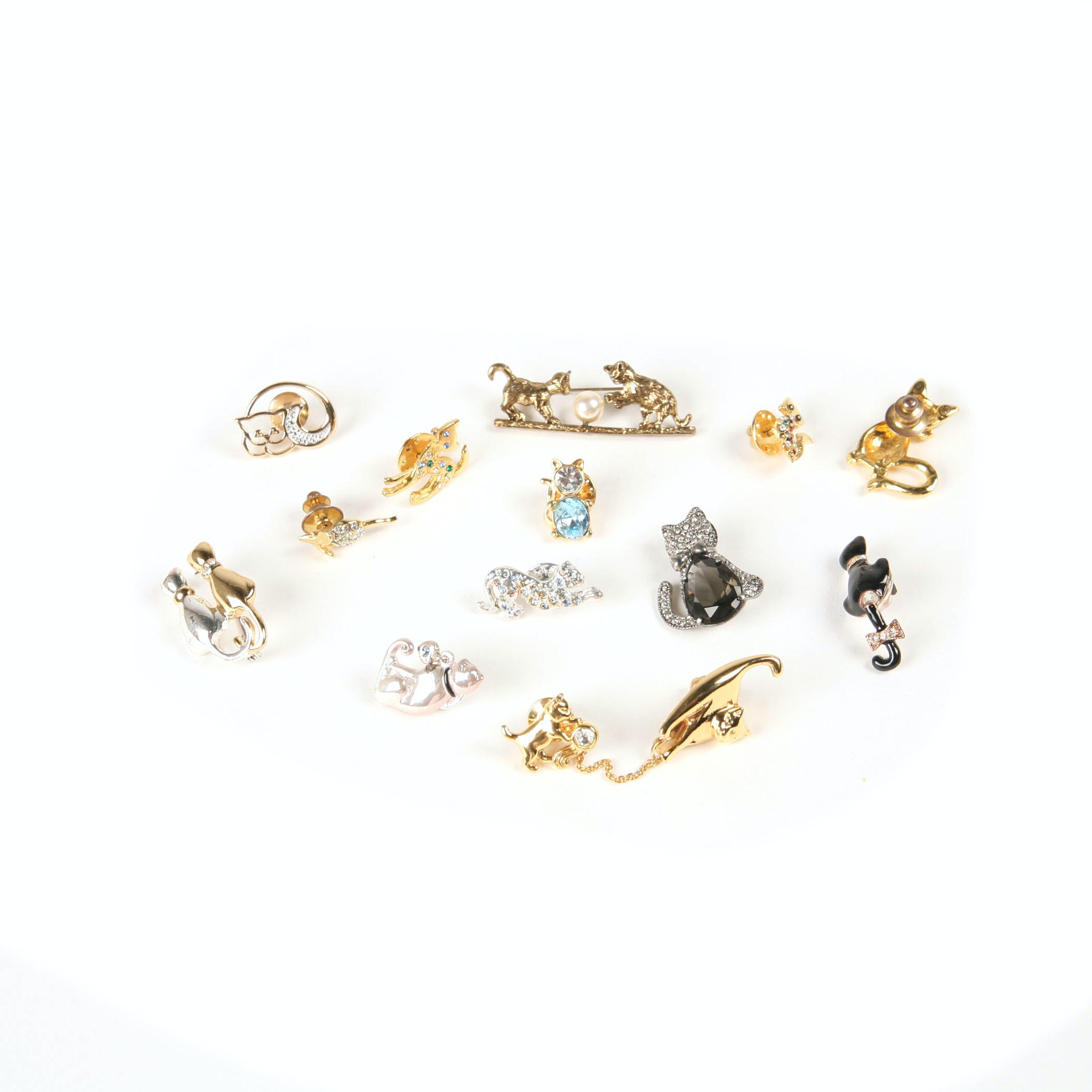 Collection of Vintage Cat Brooches Including Rhinestone