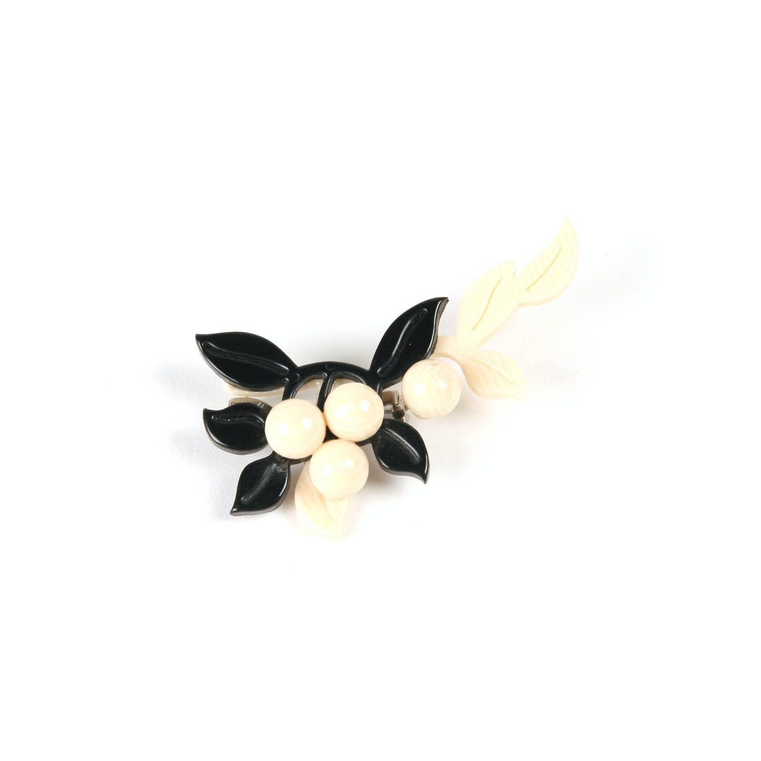 Vintage Designer Lea Stein Lucite Resin Black and White Flower Brooch