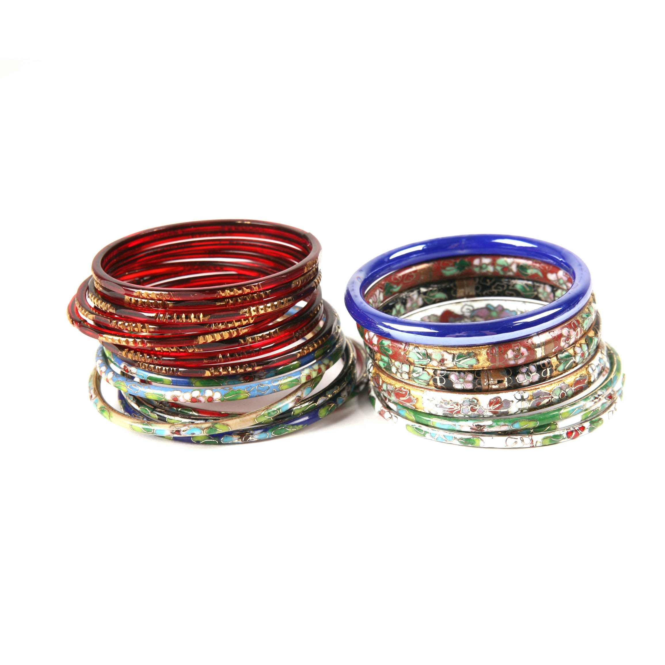 Vintage Chinese Cloisonne Bangles and Czech Pressed Glass Bangles