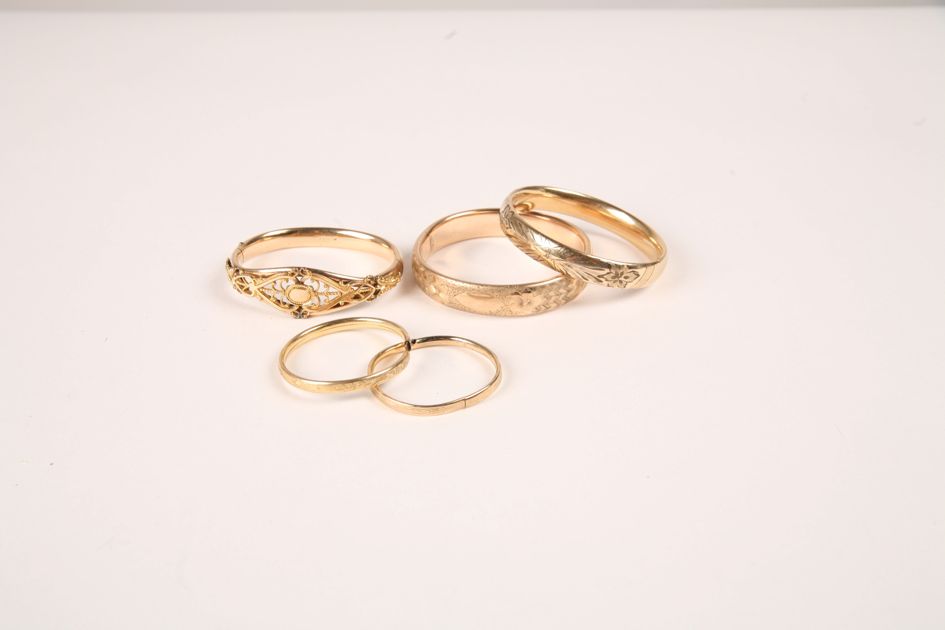 Antique Victorian Gold Filled Bangle Bracelets with Floral Etching