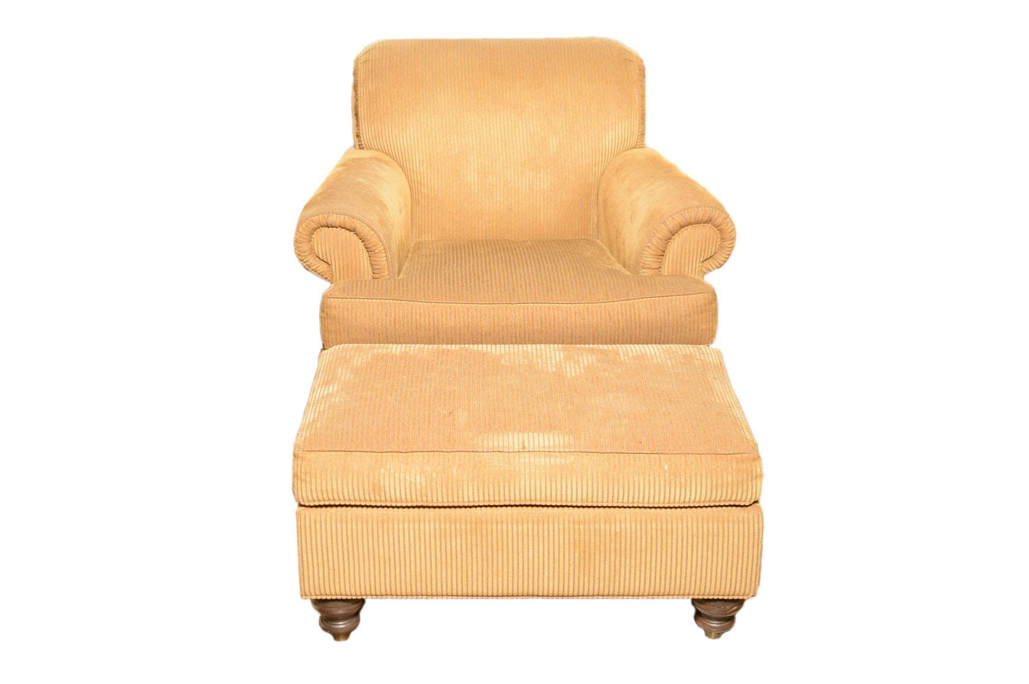 Ethan Allen Upholstered Armchair with Ottoman