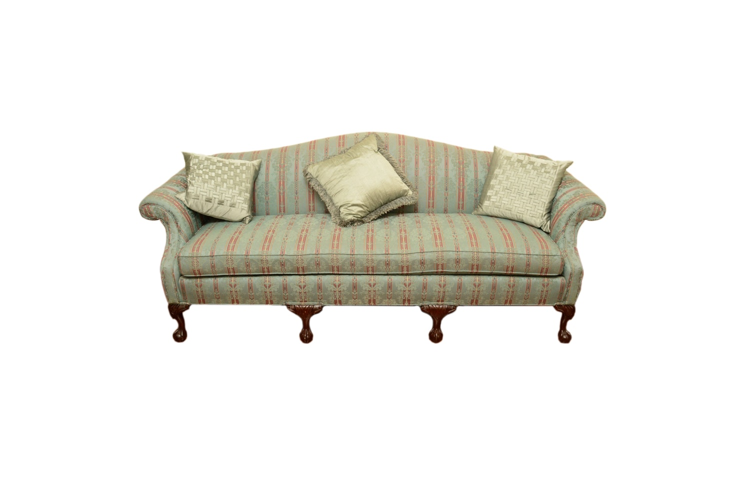 Vintage Chippendale Style Upholstered Sofa by Greene Brothers
