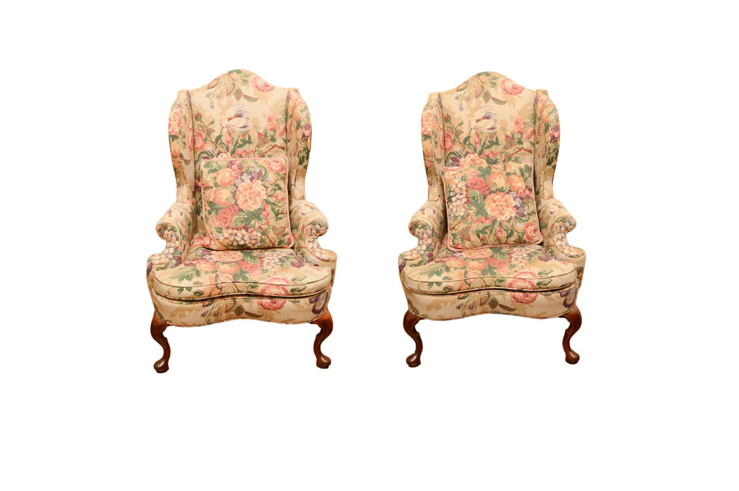 Vintage Queen Anne Style Floral Upholstered Wingback Chairs