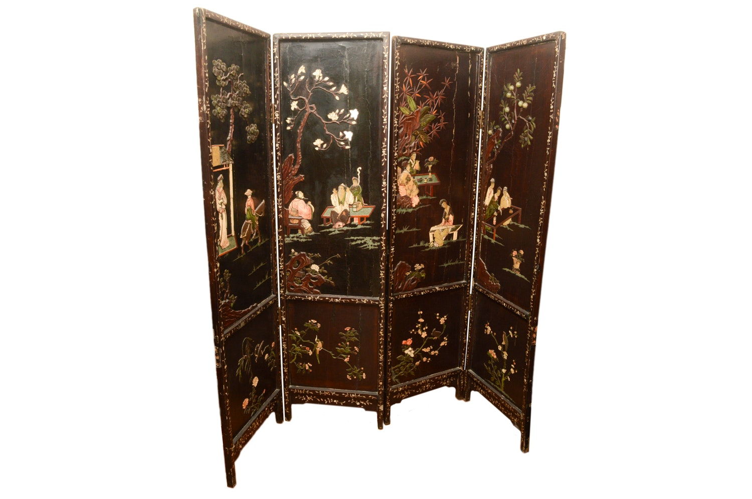 Vintage Chinese Four-Panel Folding Screen with Four Seasons Motif