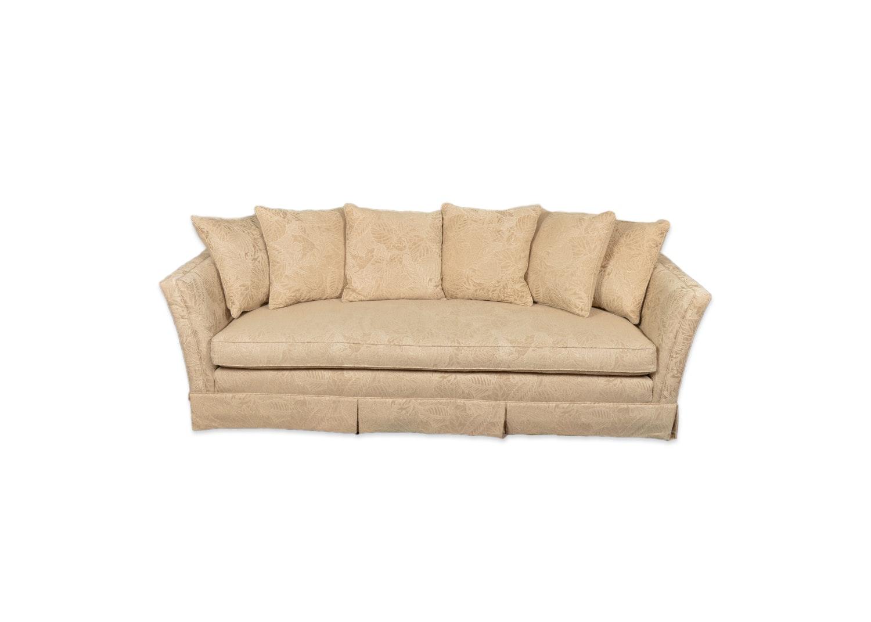 Cream Leaf Print Upholstered Sofa