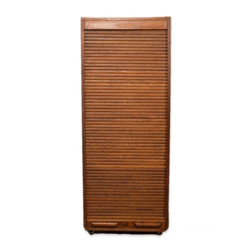 Oak Tambour Door Cabinet Ebth