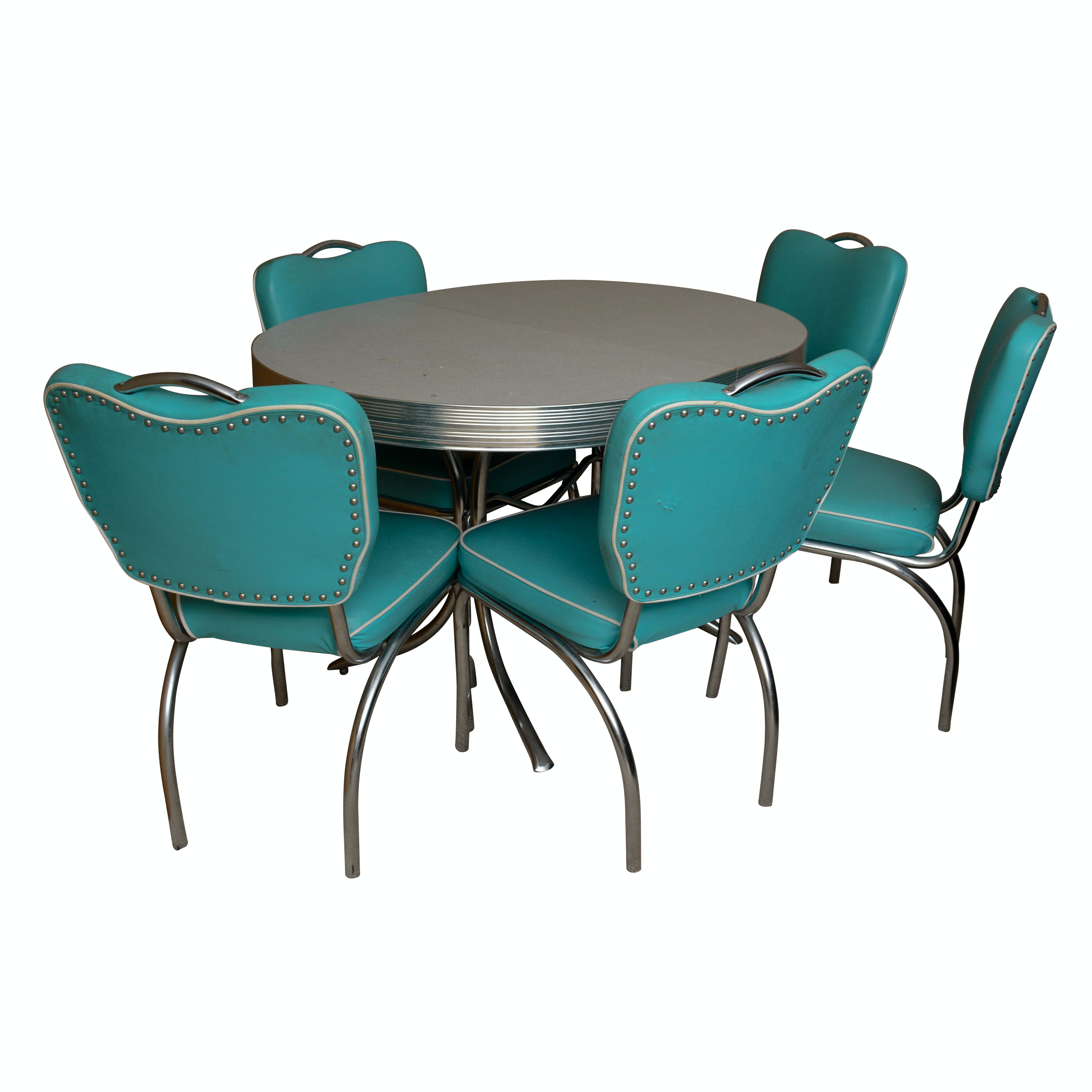 Mid-Century Diner Style Bent Chrome Table and Chairs Set