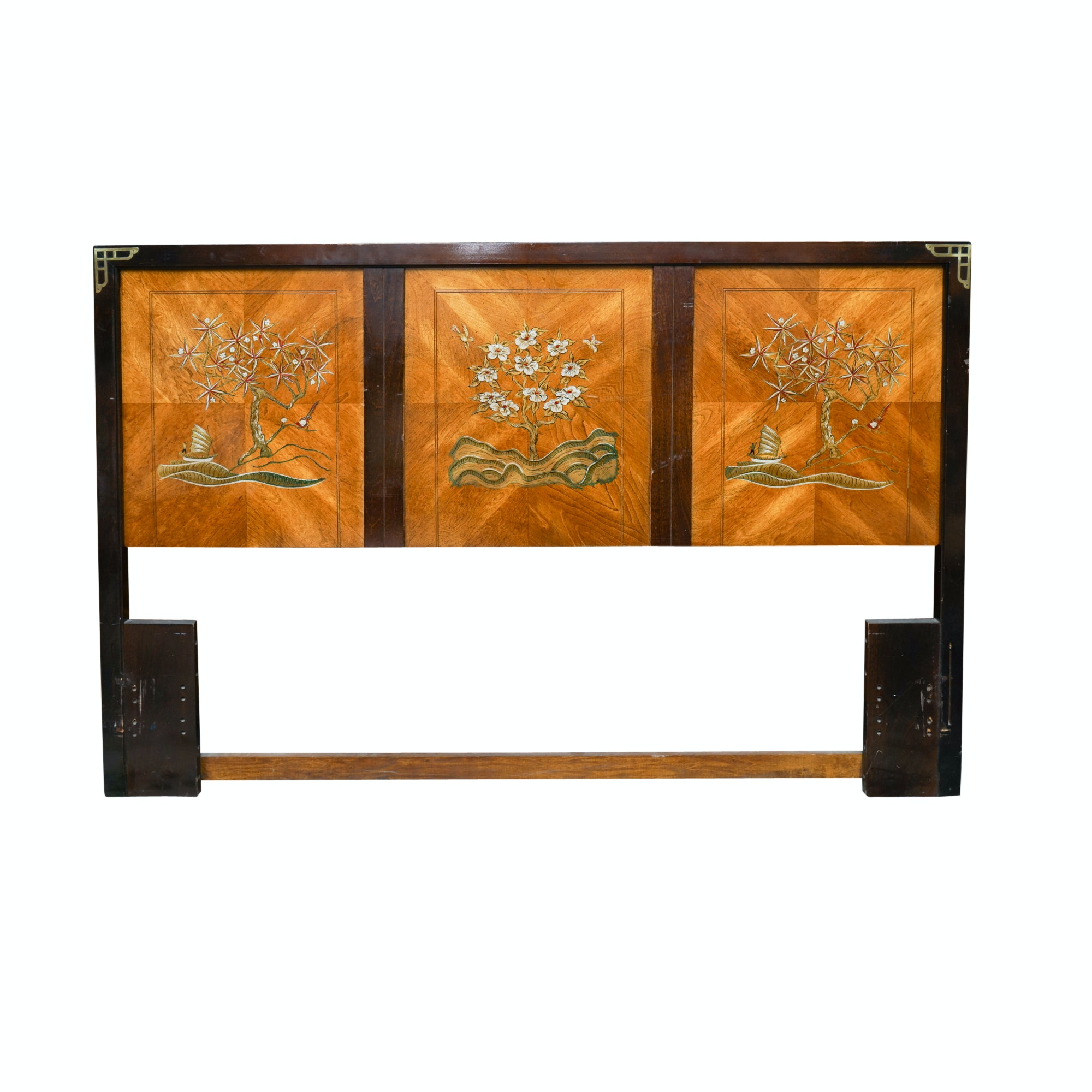 Asian Style Chinoiserie Queen Size Headboard