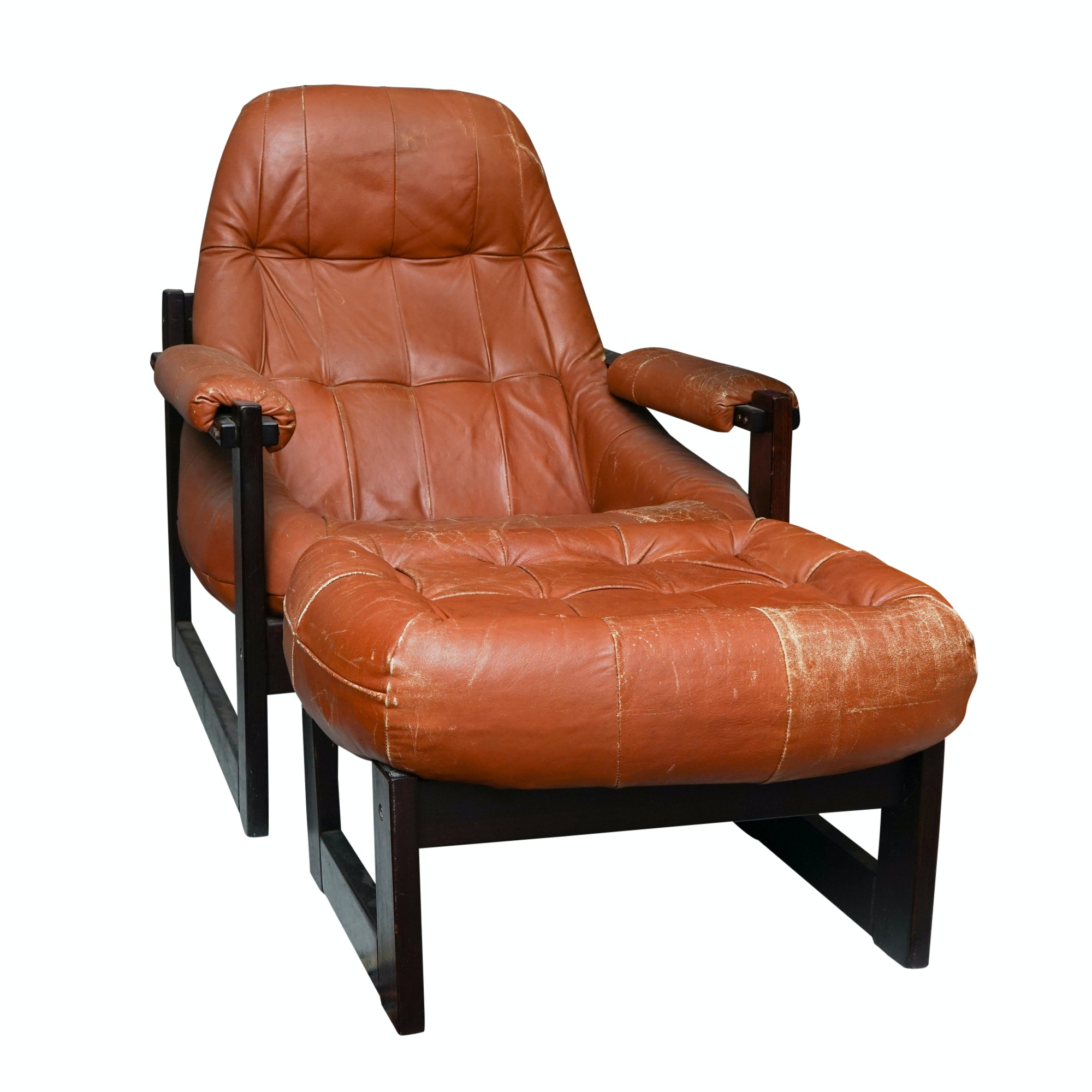 Percival Lafer Leather and Rosewood Lounge Chair and Ottoman