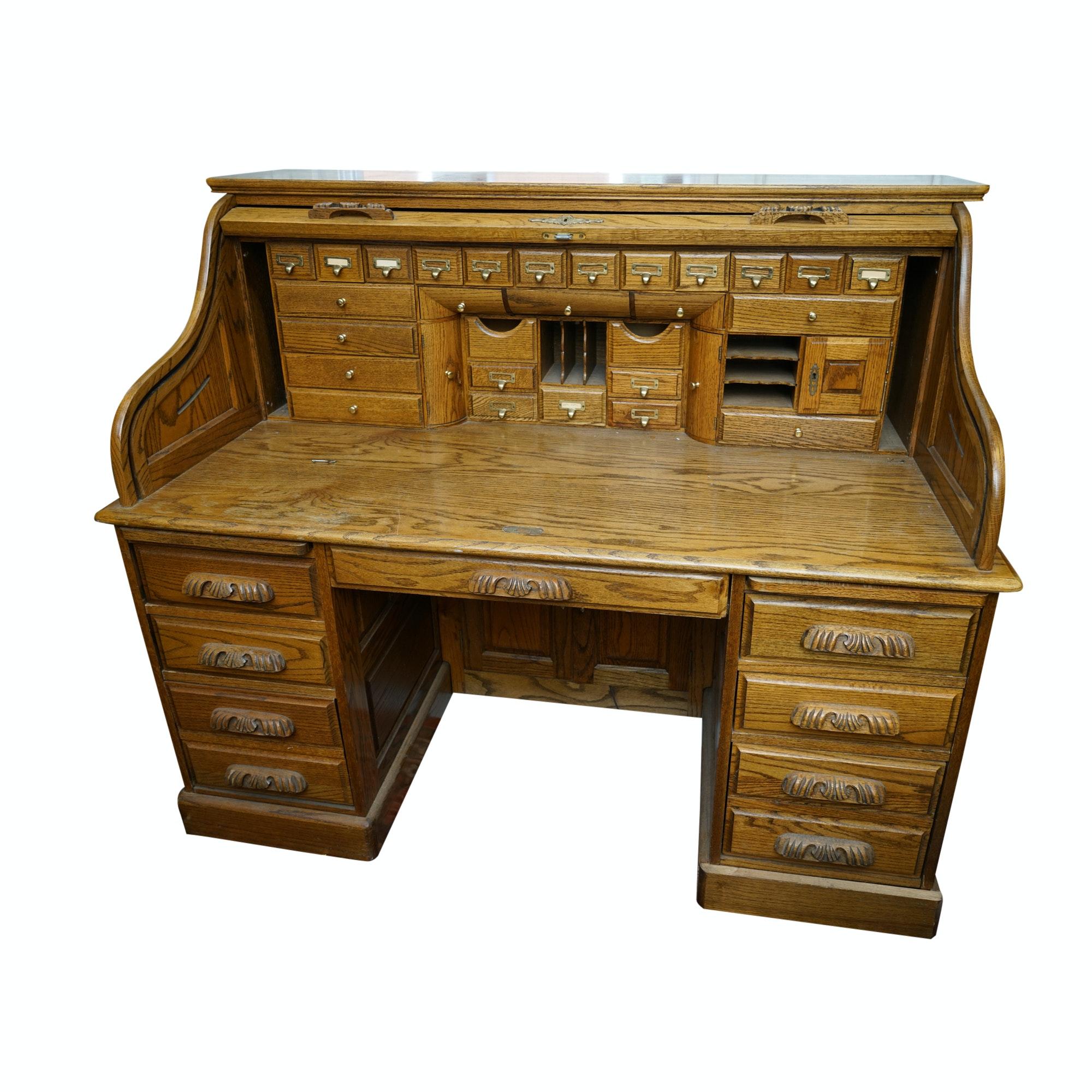 Vintage Oak Roll-Top Desk