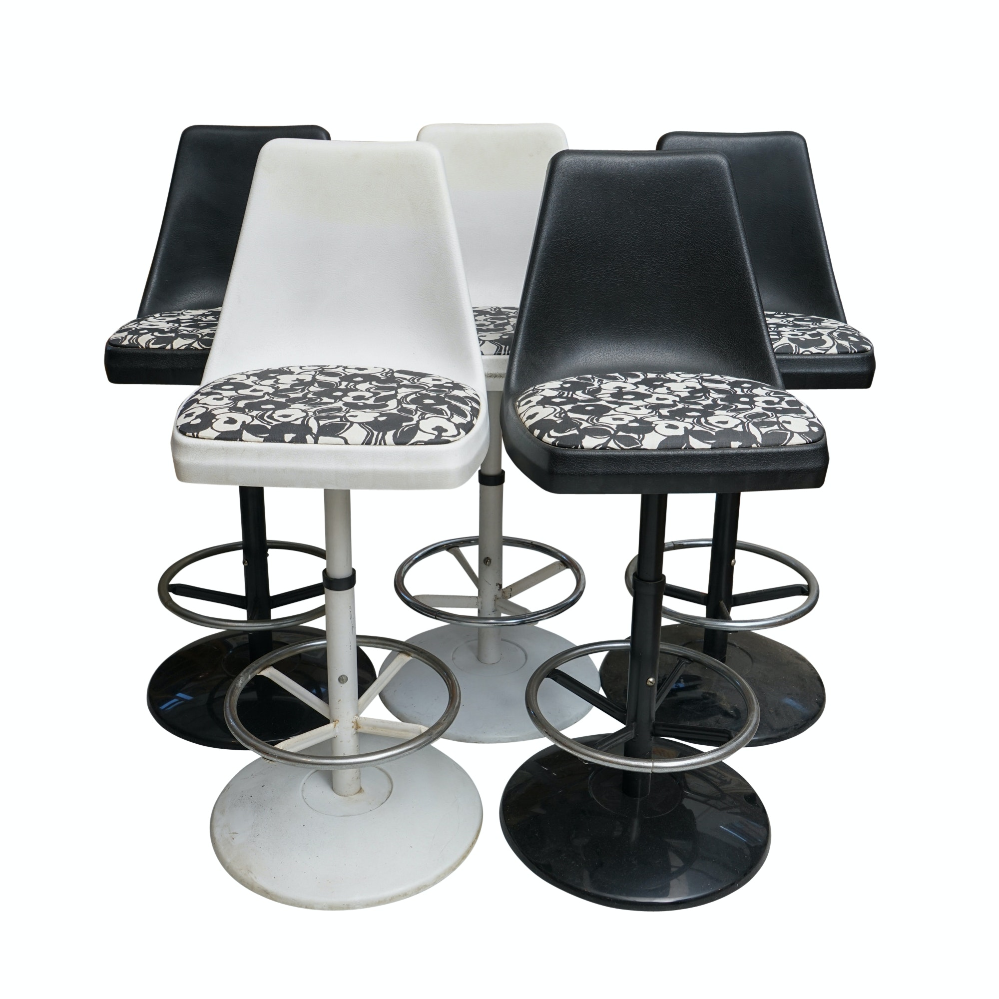 Five Mid Century Modern Style Black and White Bar Stools