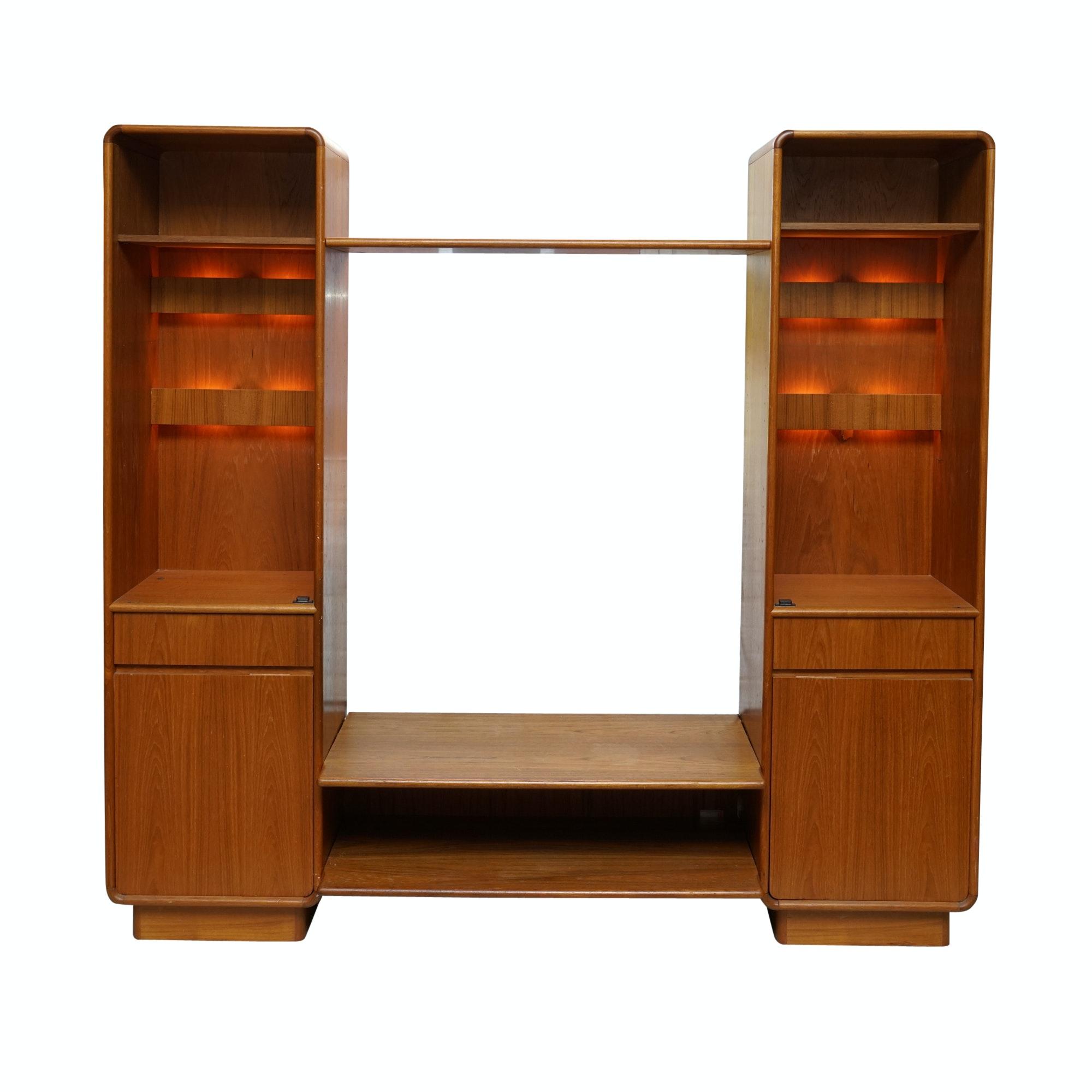 Danish Modern Illuminated Entertainment Cabinet and Shelves