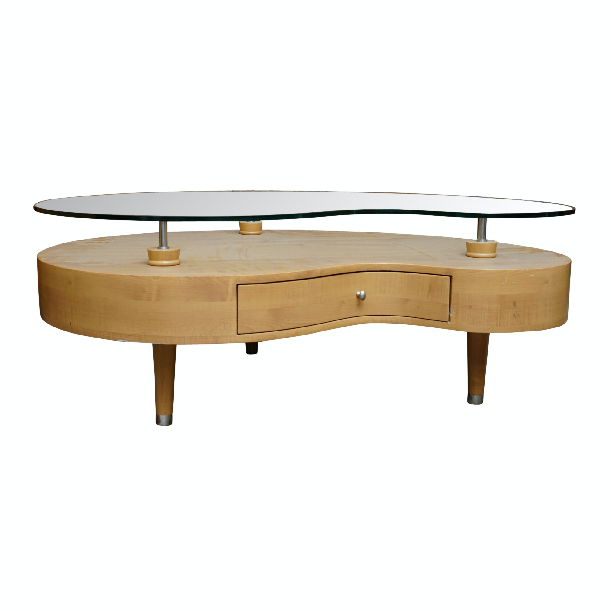 Mid Century Modern Style Floating Top Amorphic Coffee Table