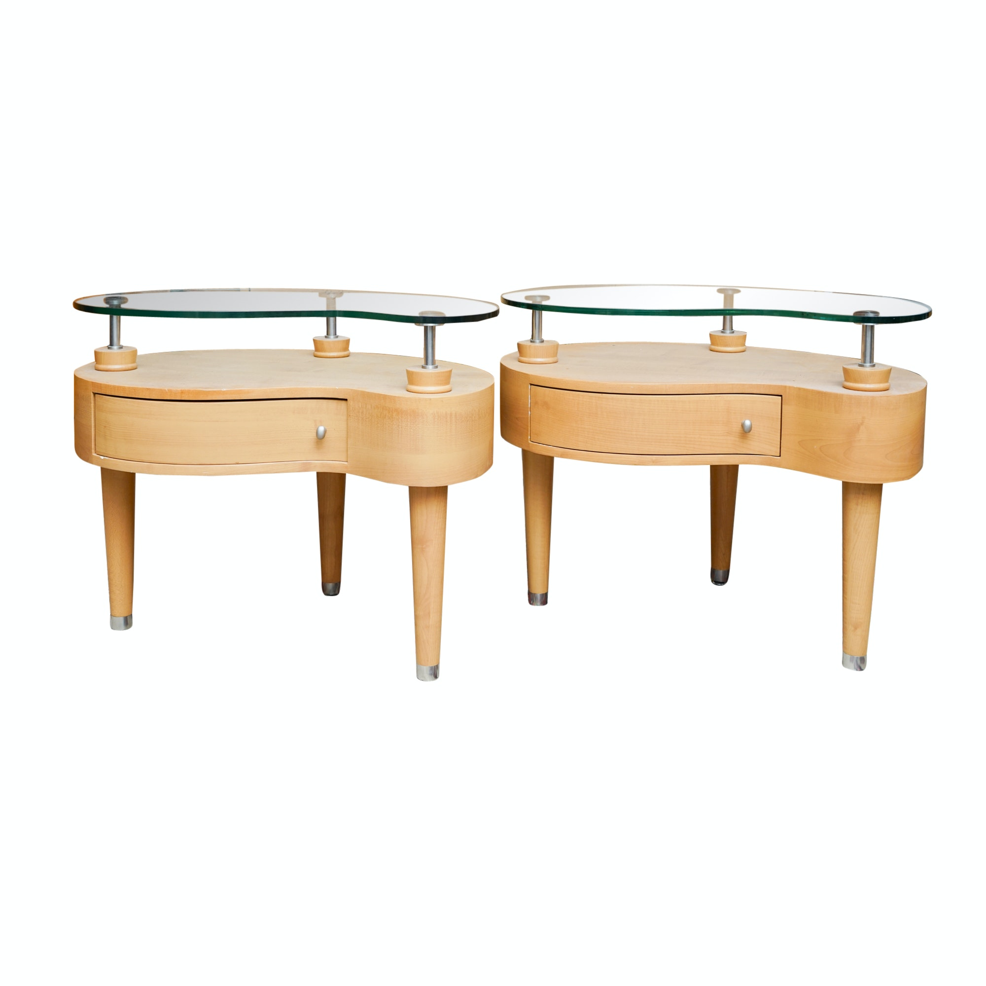 Mid Century Modern Style Floating Top Amorphic Side Tables