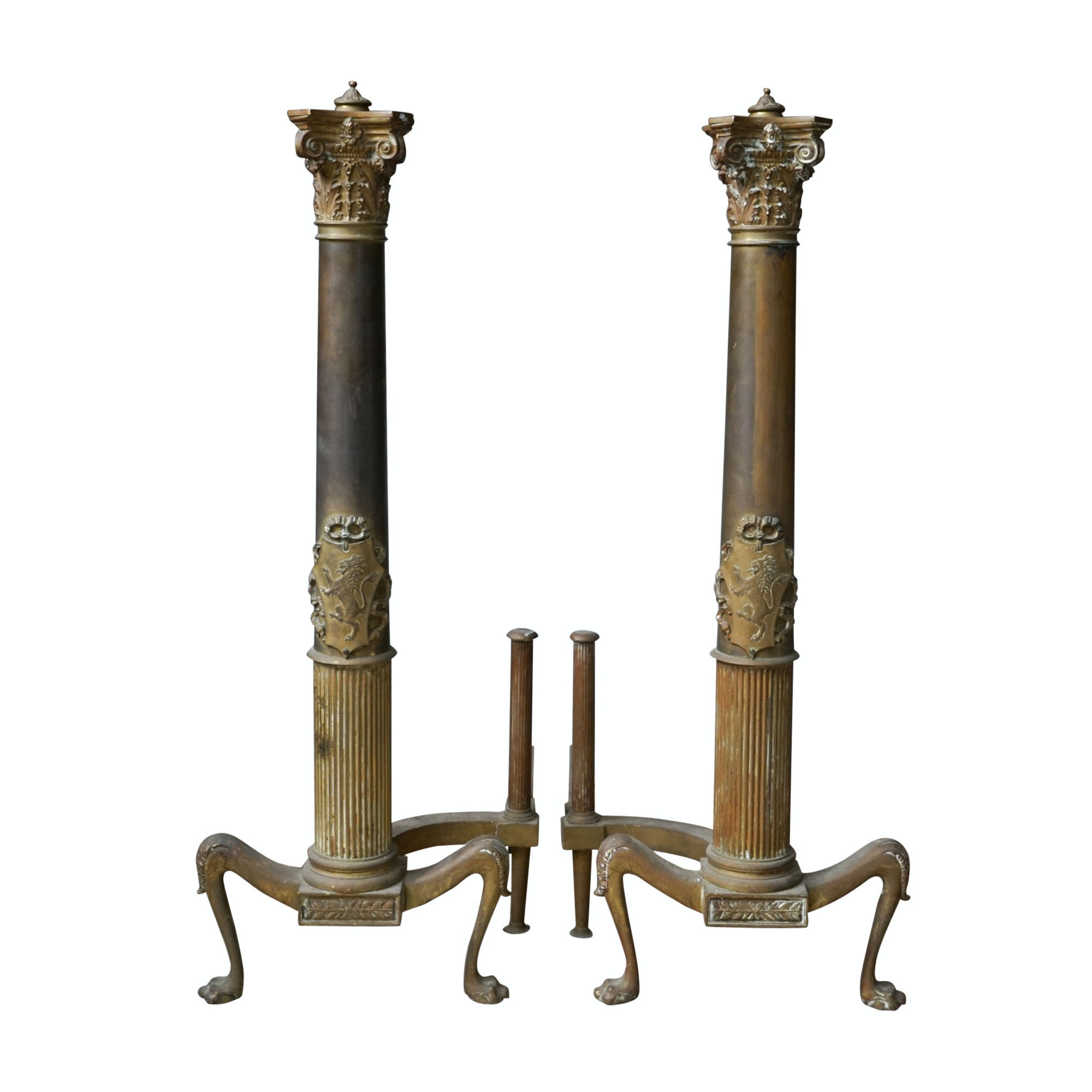 Antique Tudor Revival Brass Andirons