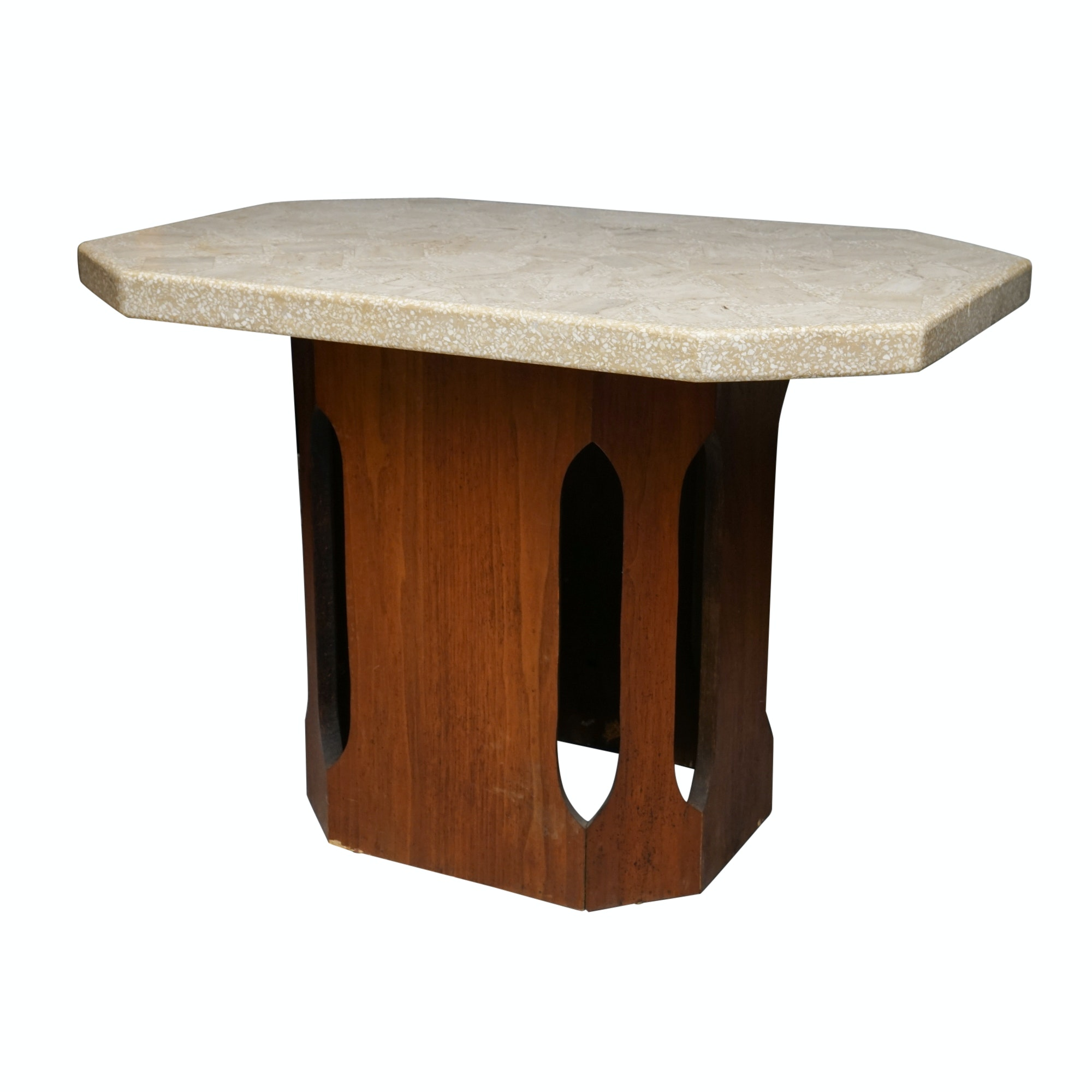 Probber Style Mid Century Modern Stone Top Accent Table