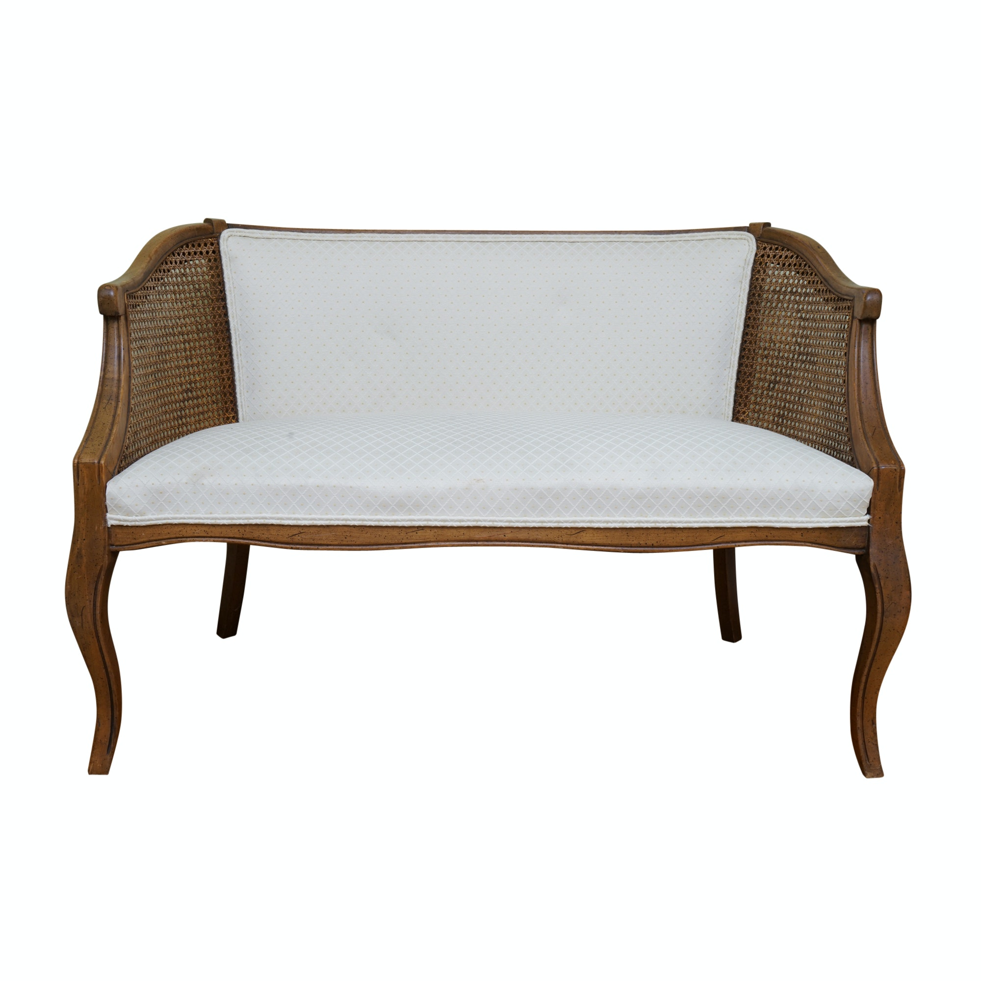 Caned and Upholstered Cabriole Settee