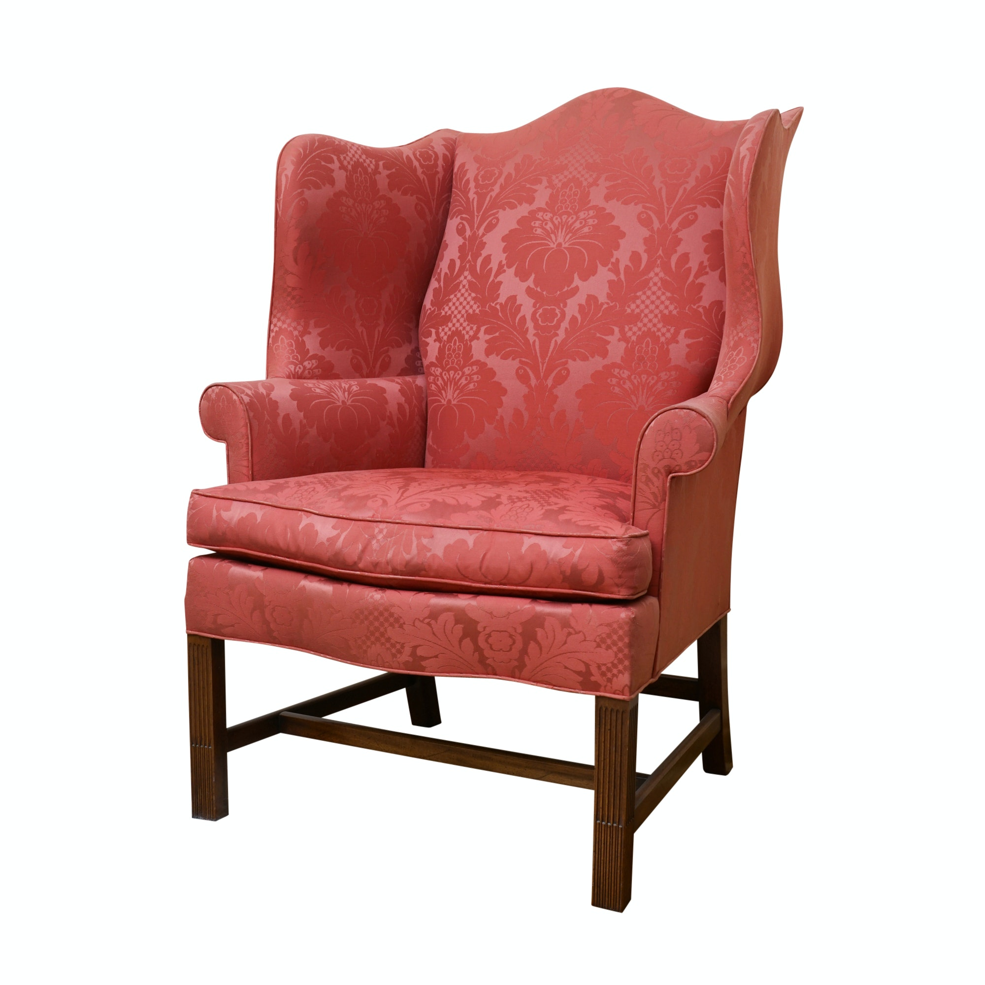 Red Damask Wingback Chair by Hickory Chair Company