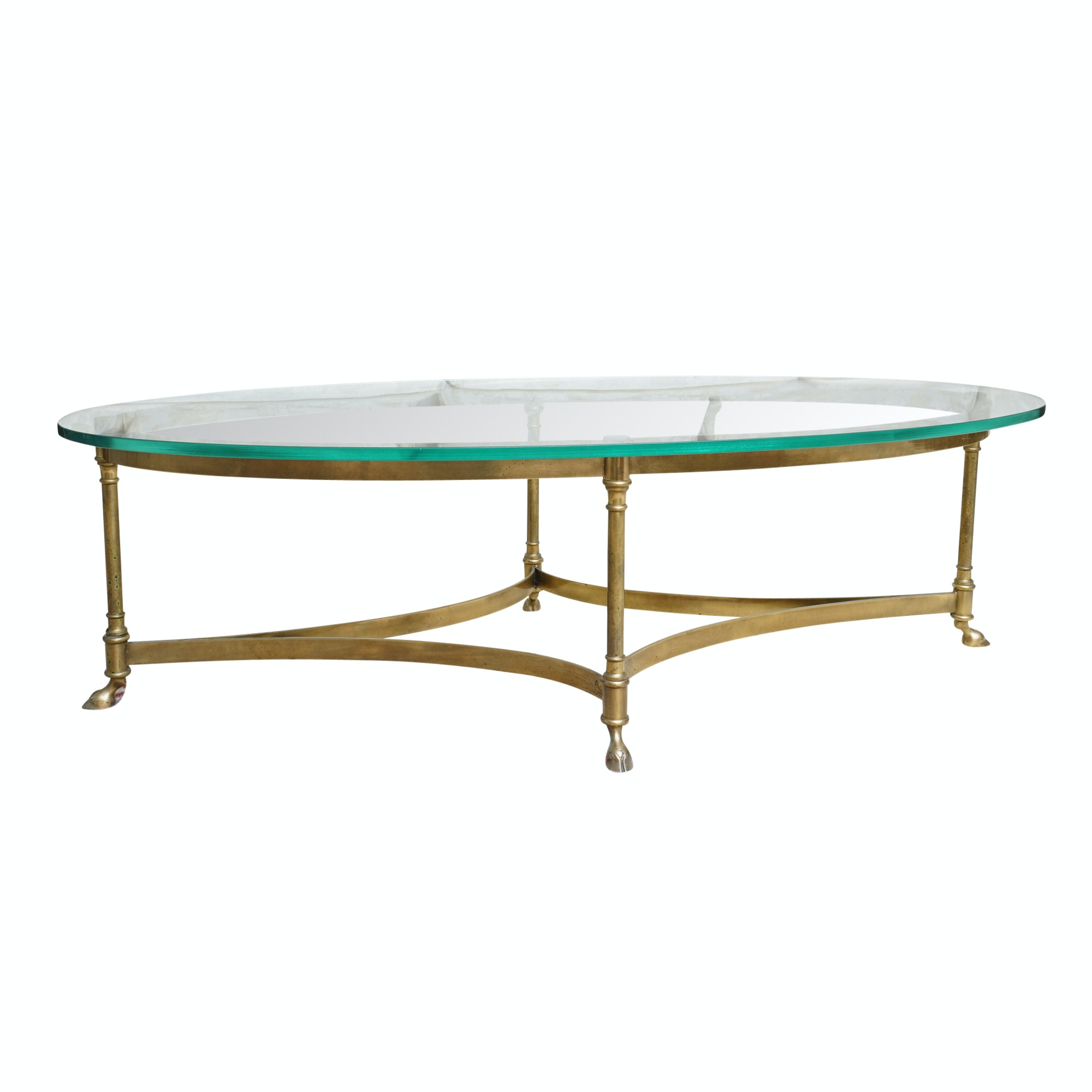 Hollywood Regency Style Oval Glass Top Coffee Table with Hoof Feet