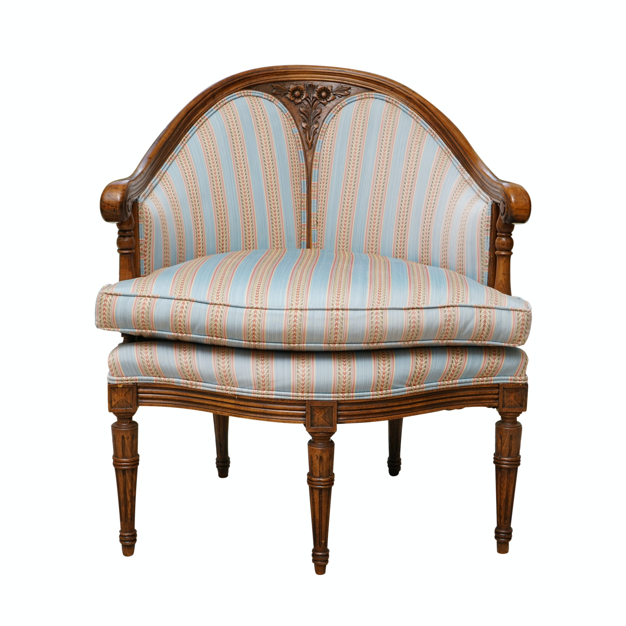 Regency Style Stripe Upholstered Tub Chair with Floral Accents