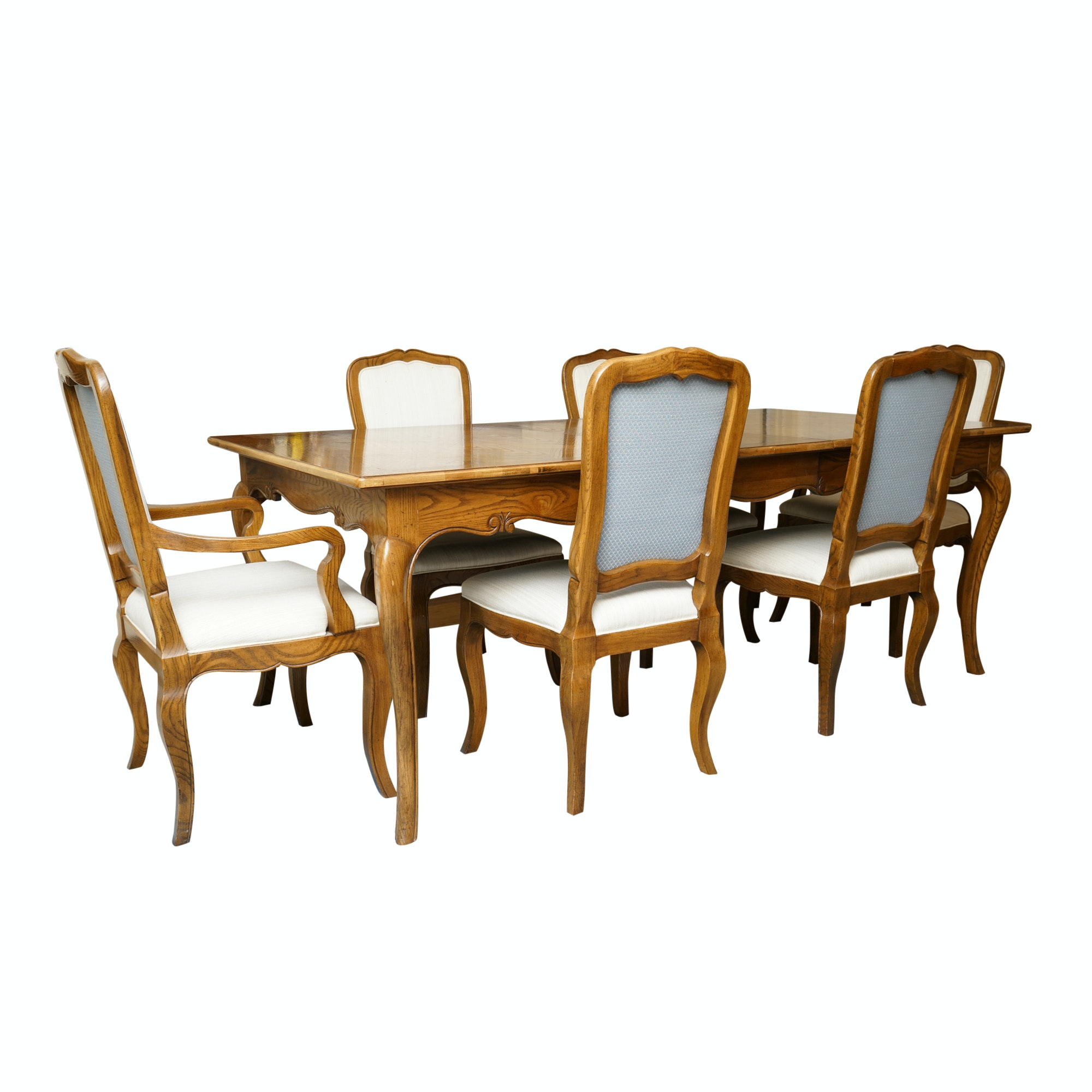 French Provincial Style Dining Table and Chairs by Baker