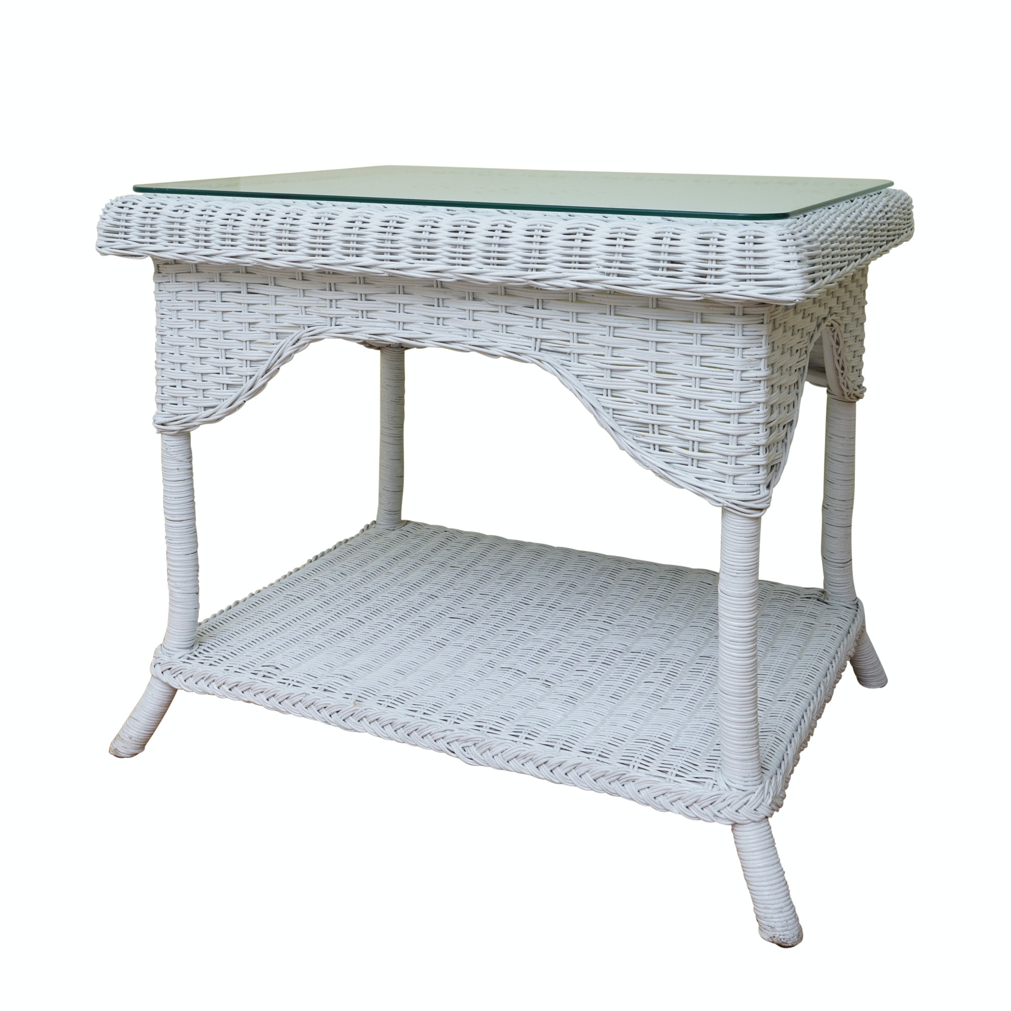 Glass Top White Wicker Table