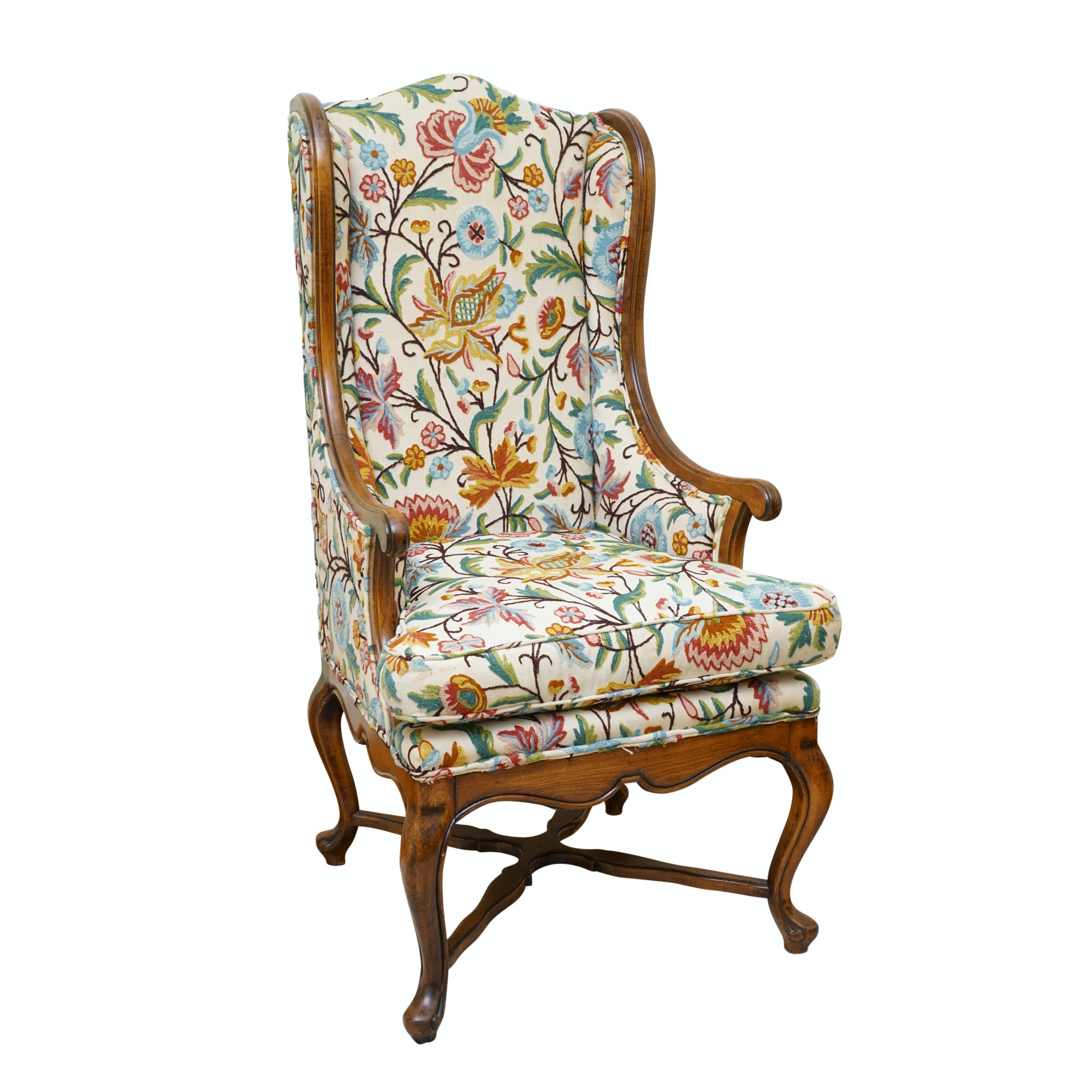 Queen Anne Style Crewelwork Upholstered Wingback Chair