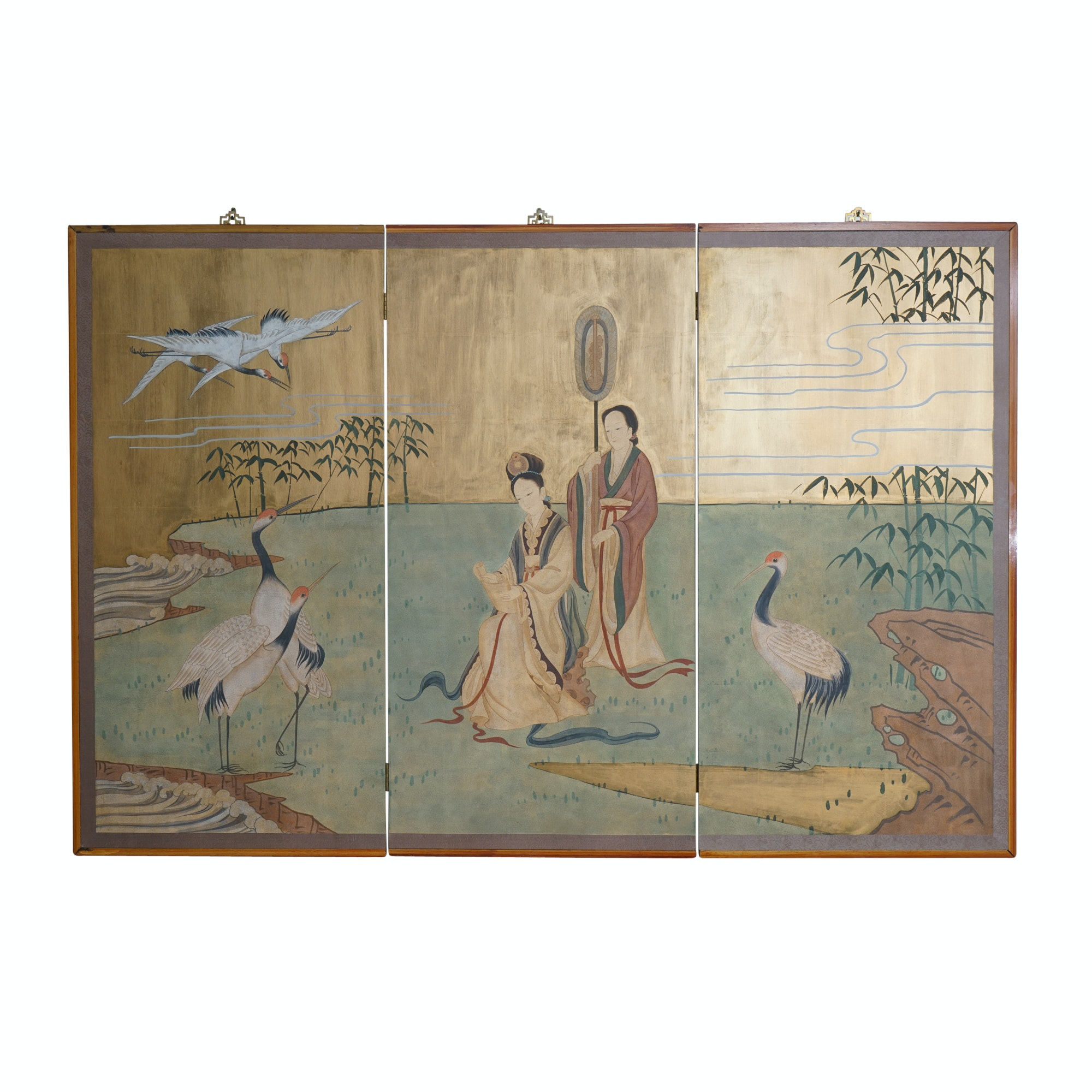 Hand-Painted Chinese Triptych Wall Panel