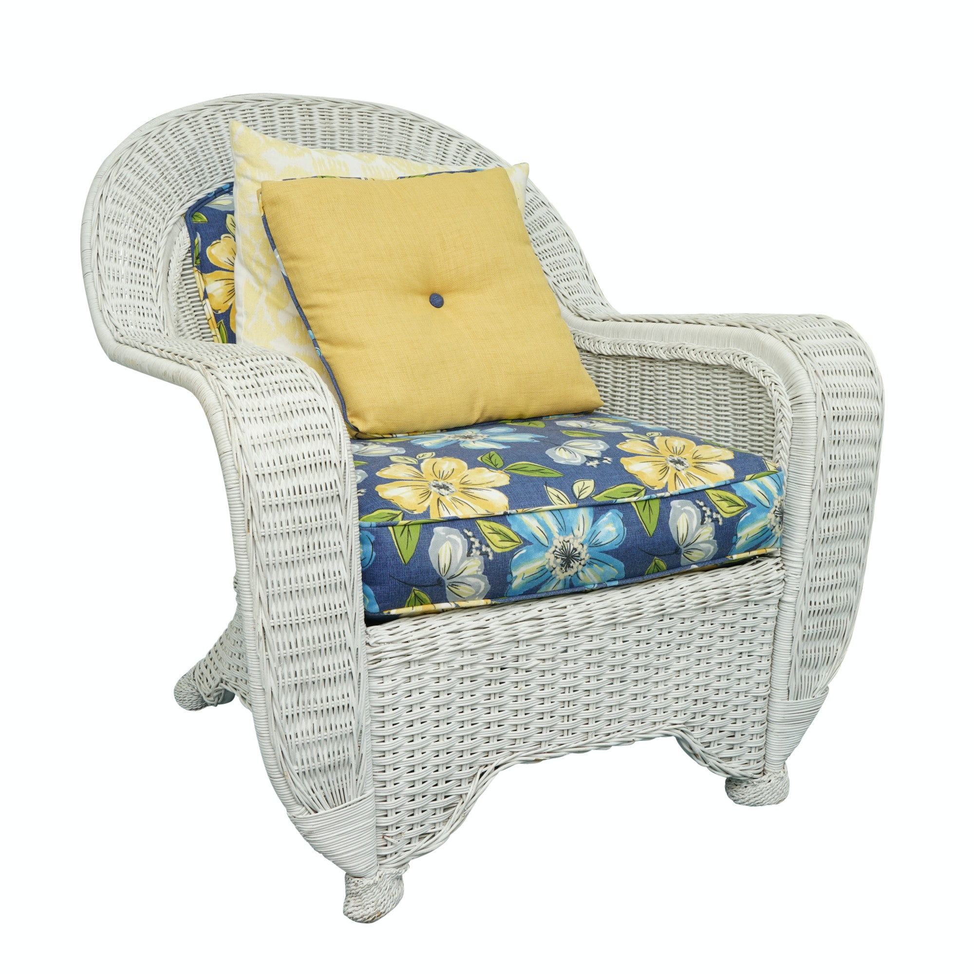 White Wicker Armchair with Floral Cushions