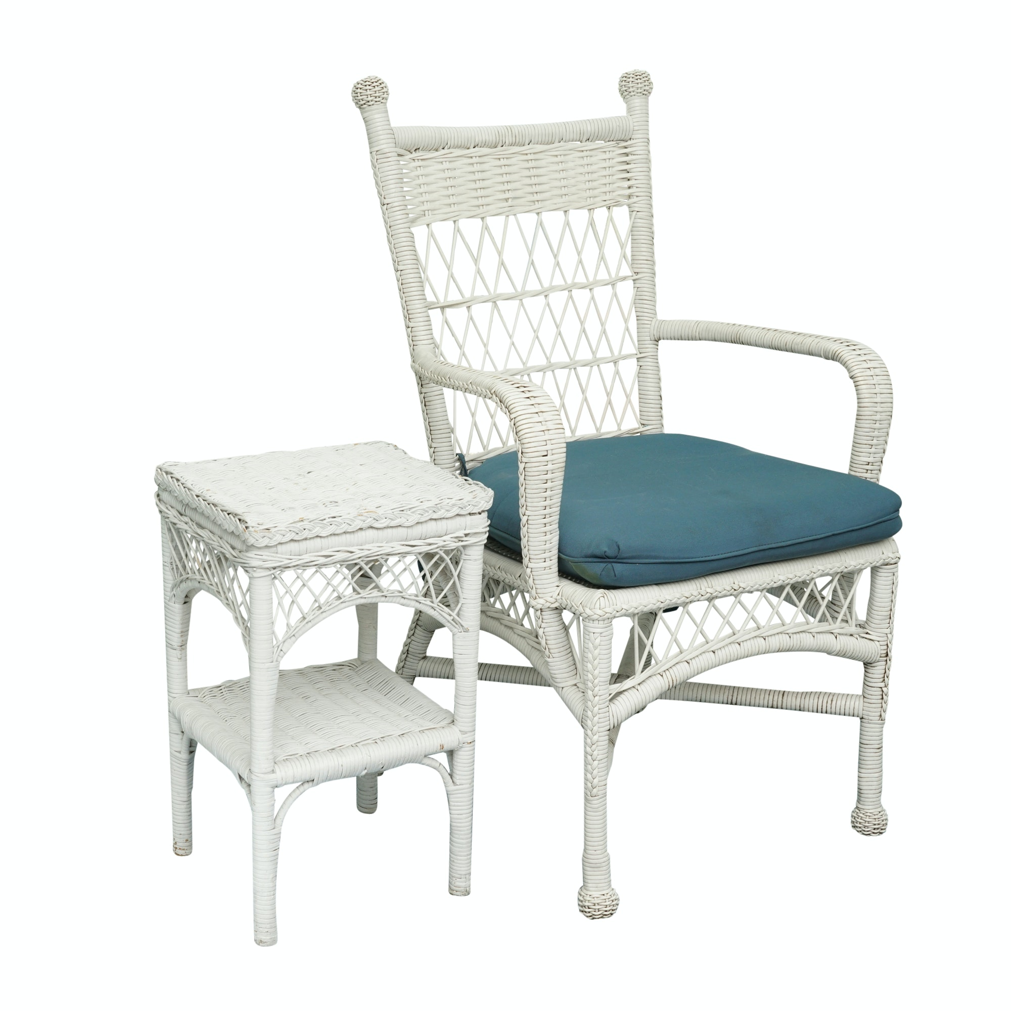 White Wicker Style Armchair with Side Table