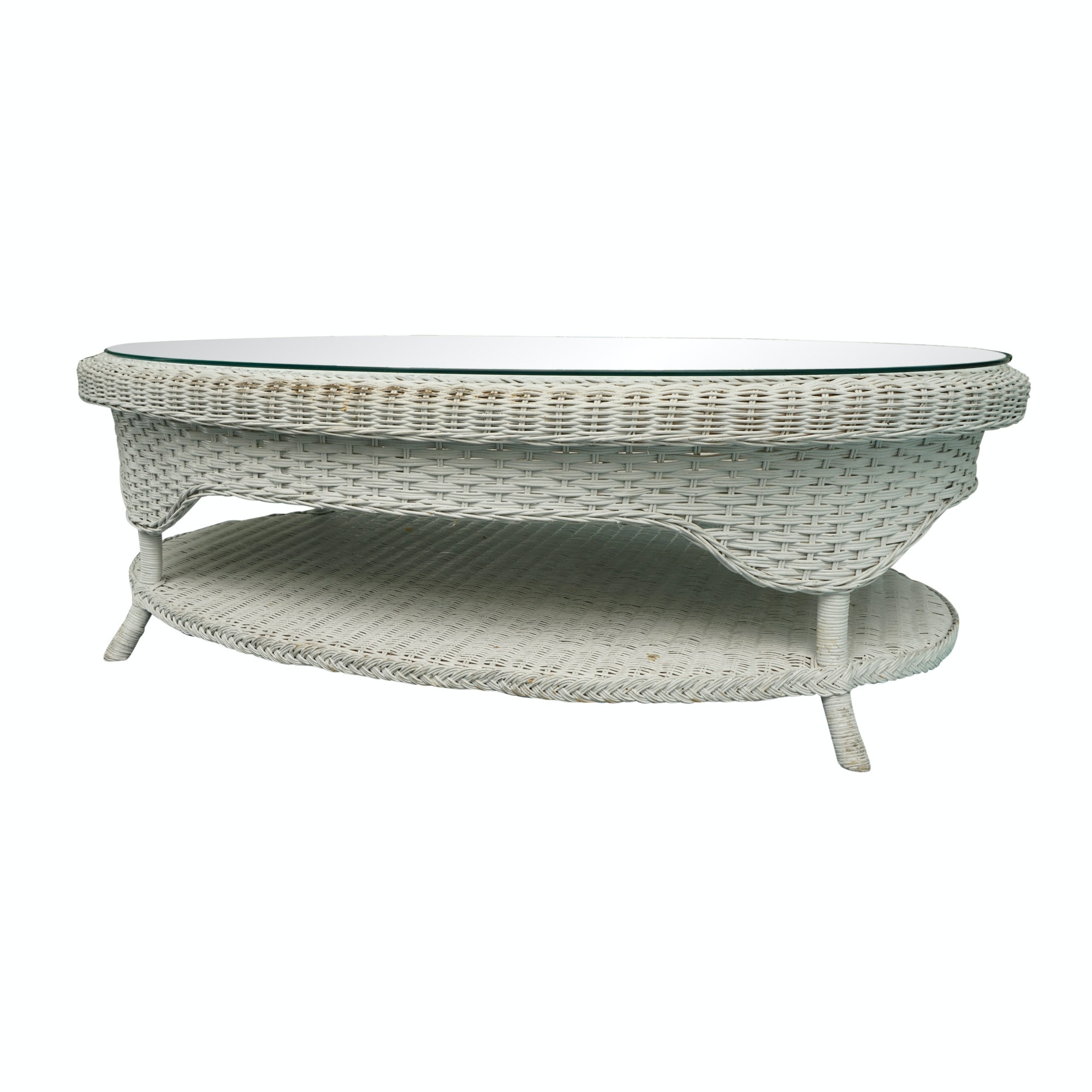 White Wicker Coffee Table with Glass Top