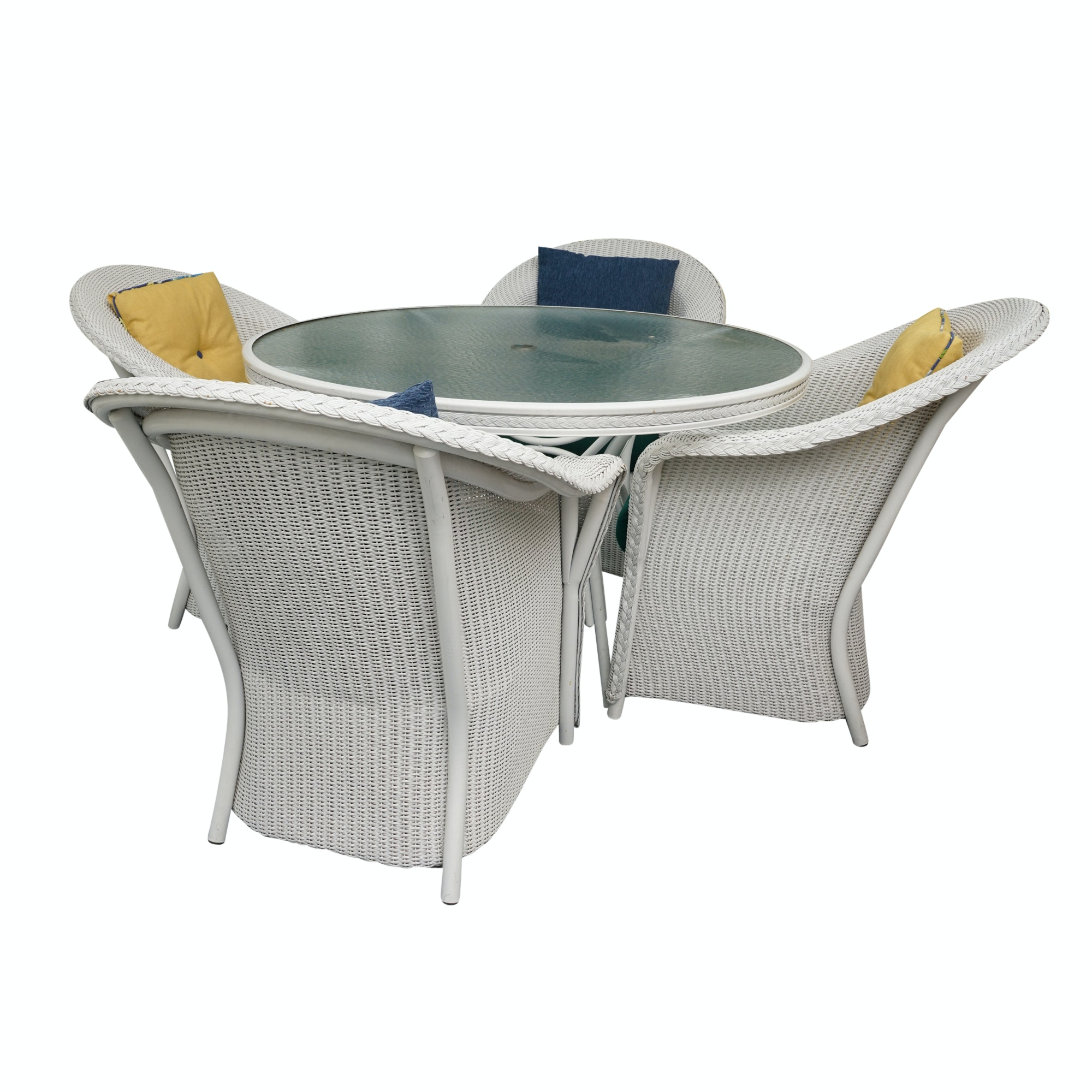 Glass Top Metal Patio Table with Wicker Armchairs