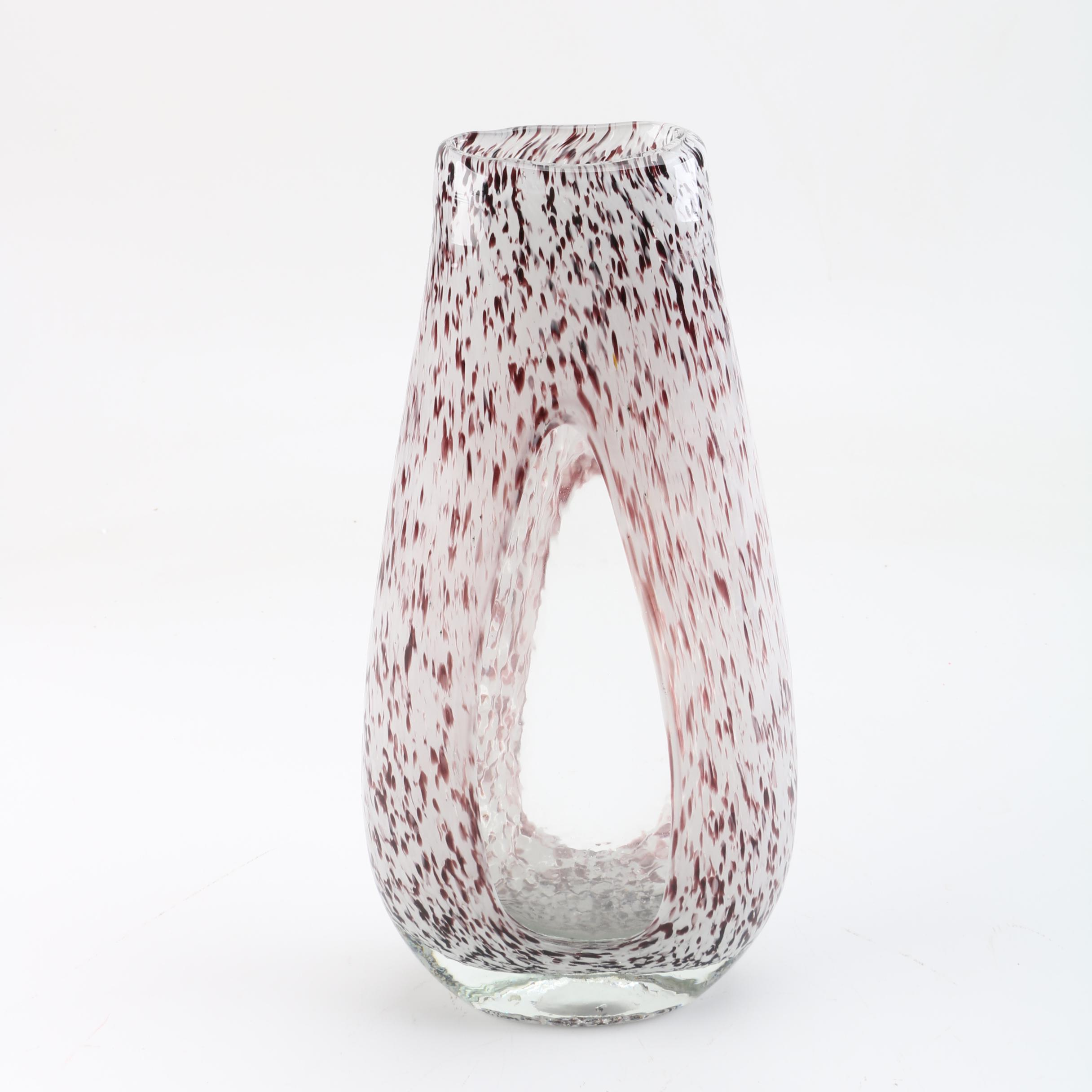 Black and white art glass vase