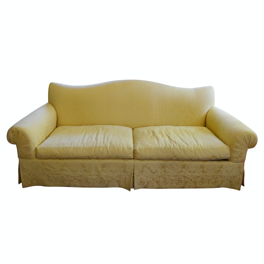 Queen Anne Style Down And Feather Filled Sofa