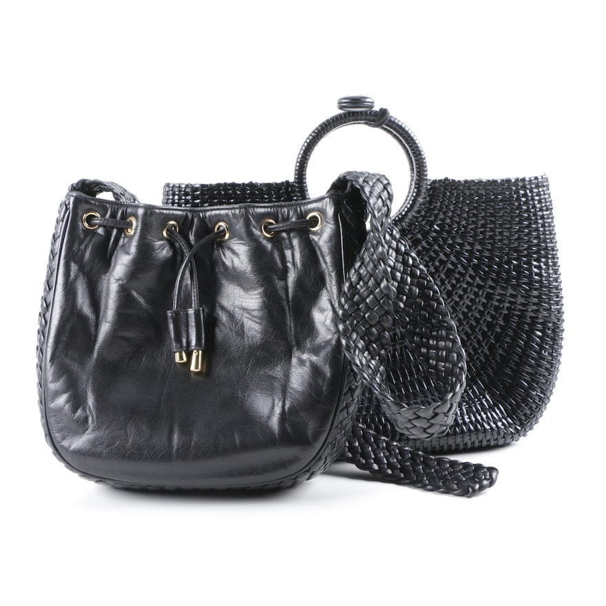 3b09673a3cd9 Ashneil and Monsac Black Leather Woven Handbags   EBTH