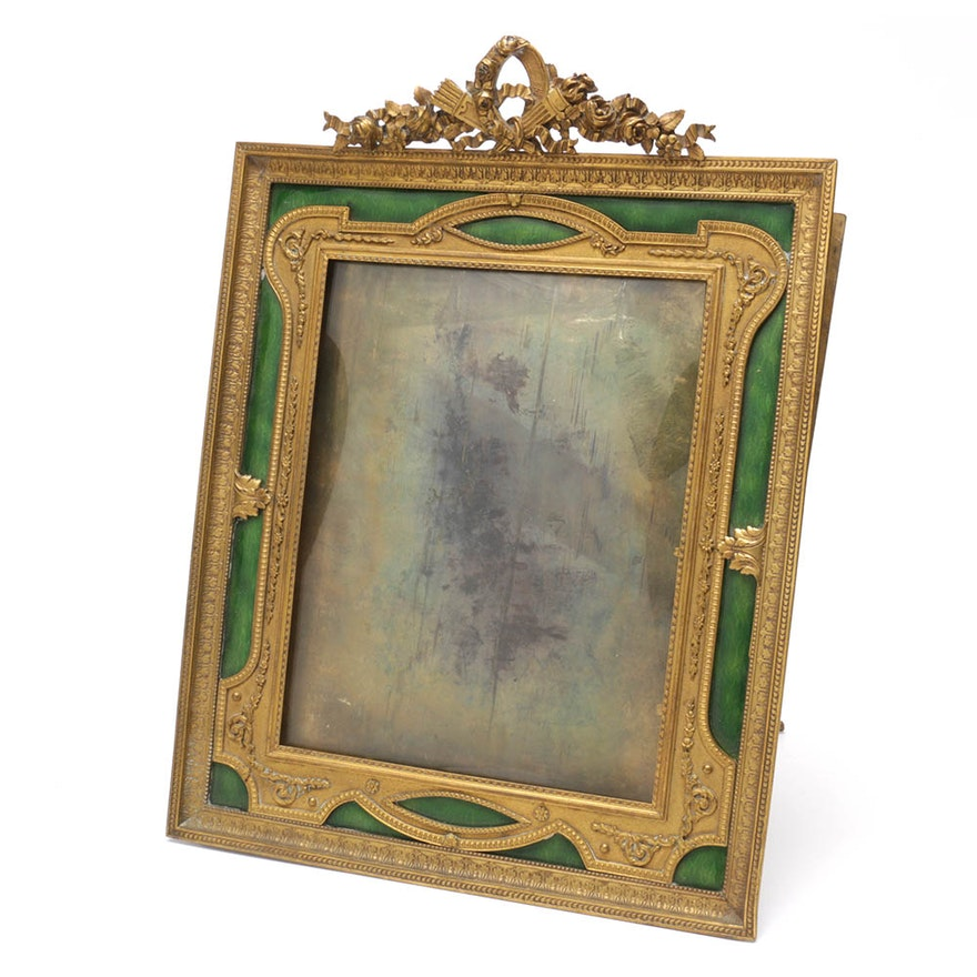 Vintage French Gilt And Enamel Table Picture Frame Ebth