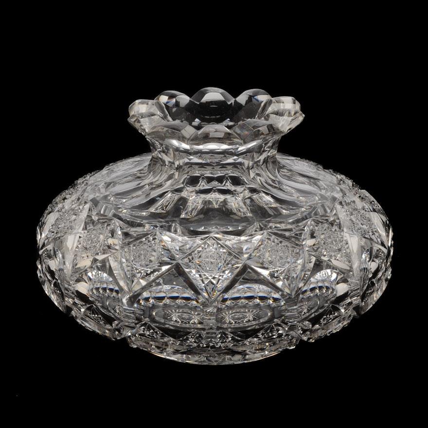 American Brilliant Period Cut Glass Vase Ebth