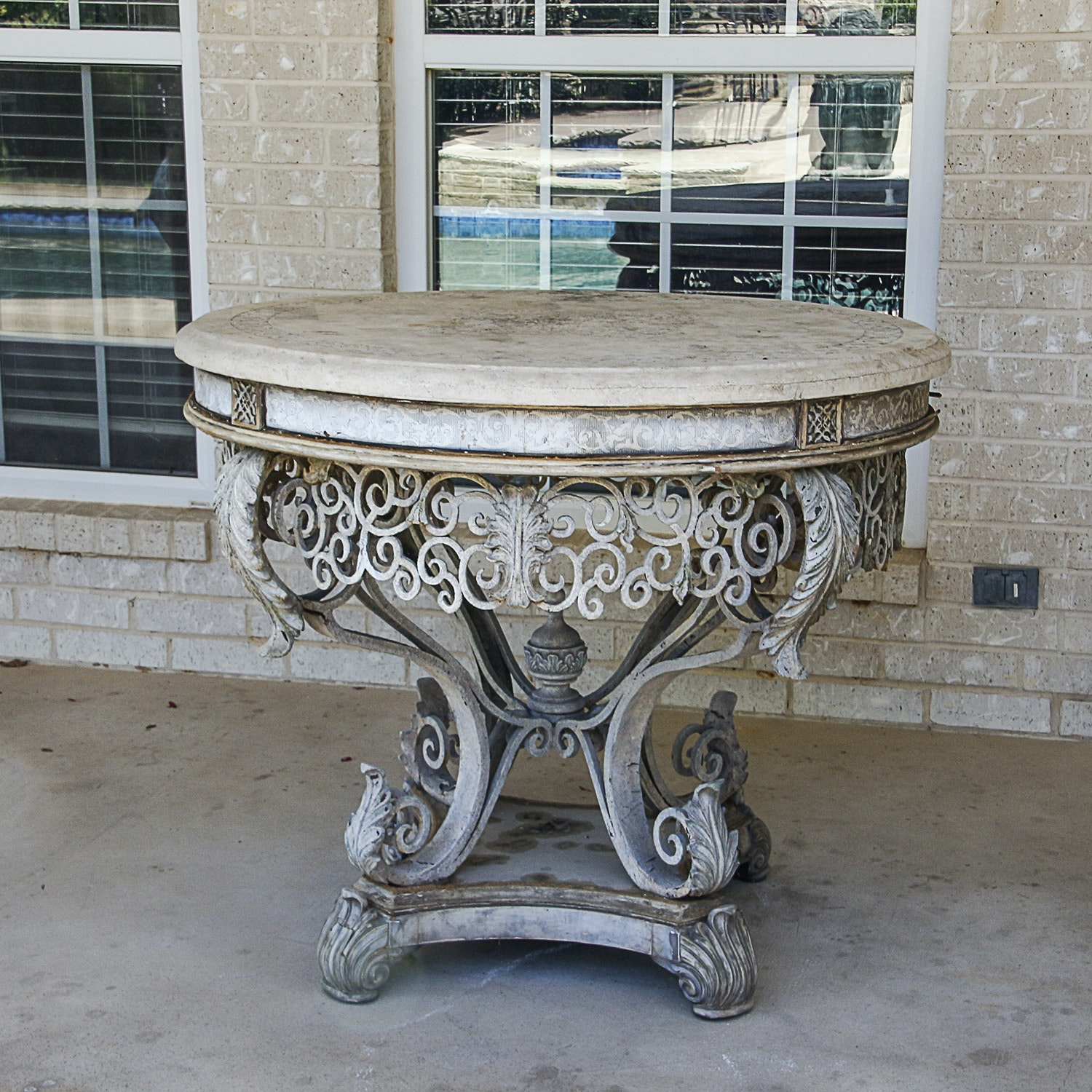 Vintage Neoclassical Style Stone Top Patio Table ...