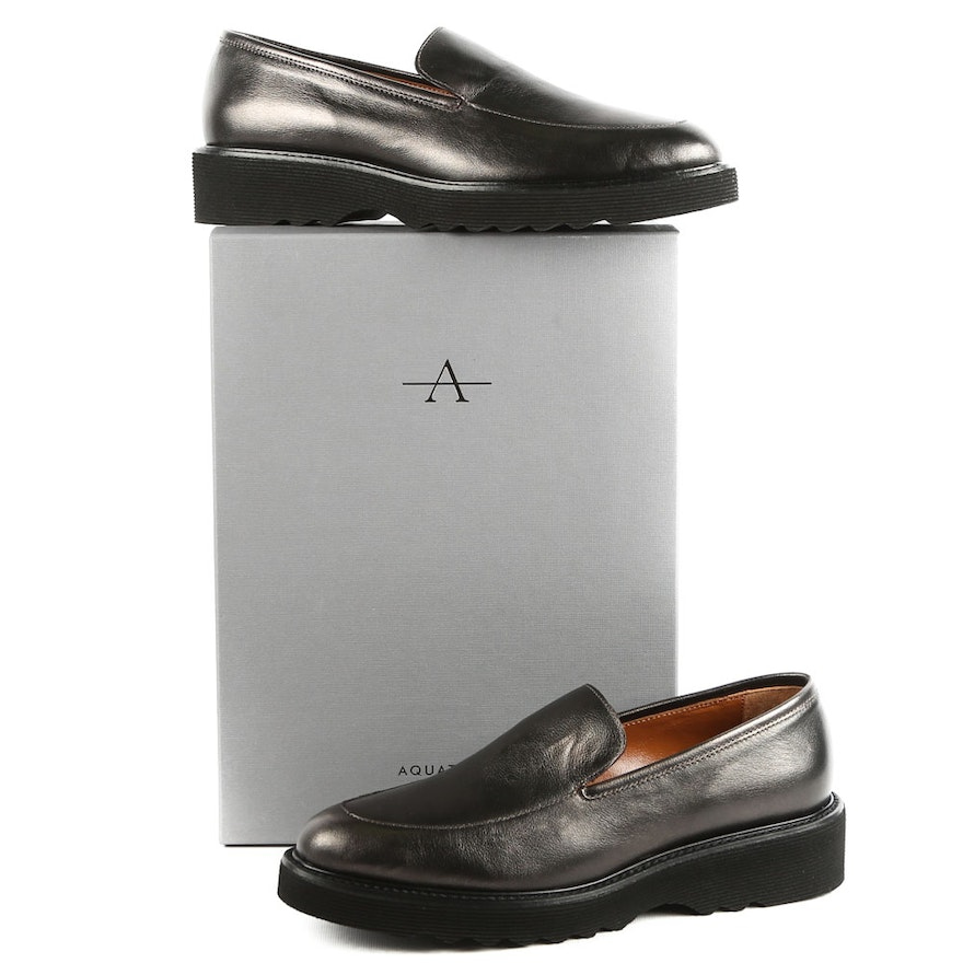 33f636c1acc Aquatalia Kelsey Charcoal Metallic Calf Leather Waterproof Loafer From  Italy   EBTH