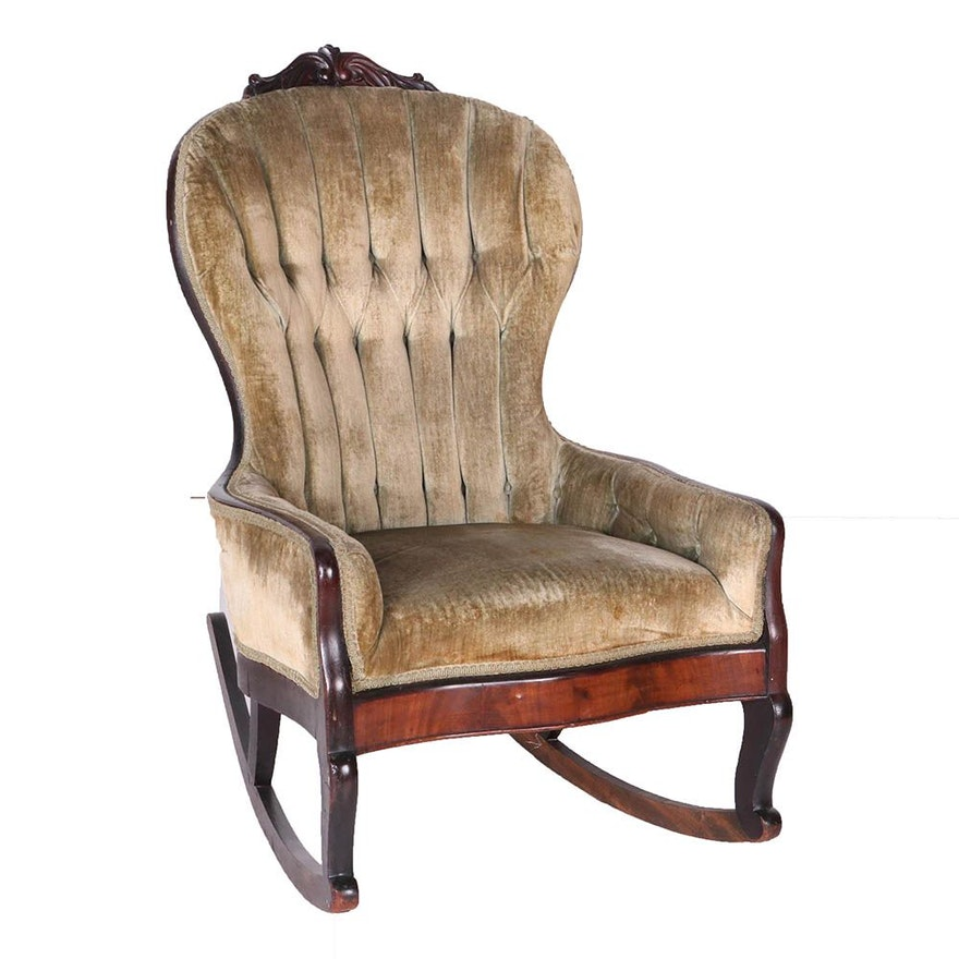 Antique Victorian Green Upholstered Tufted Rocking Chair ... - Antique Victorian Green Upholstered Tufted Rocking Chair : EBTH