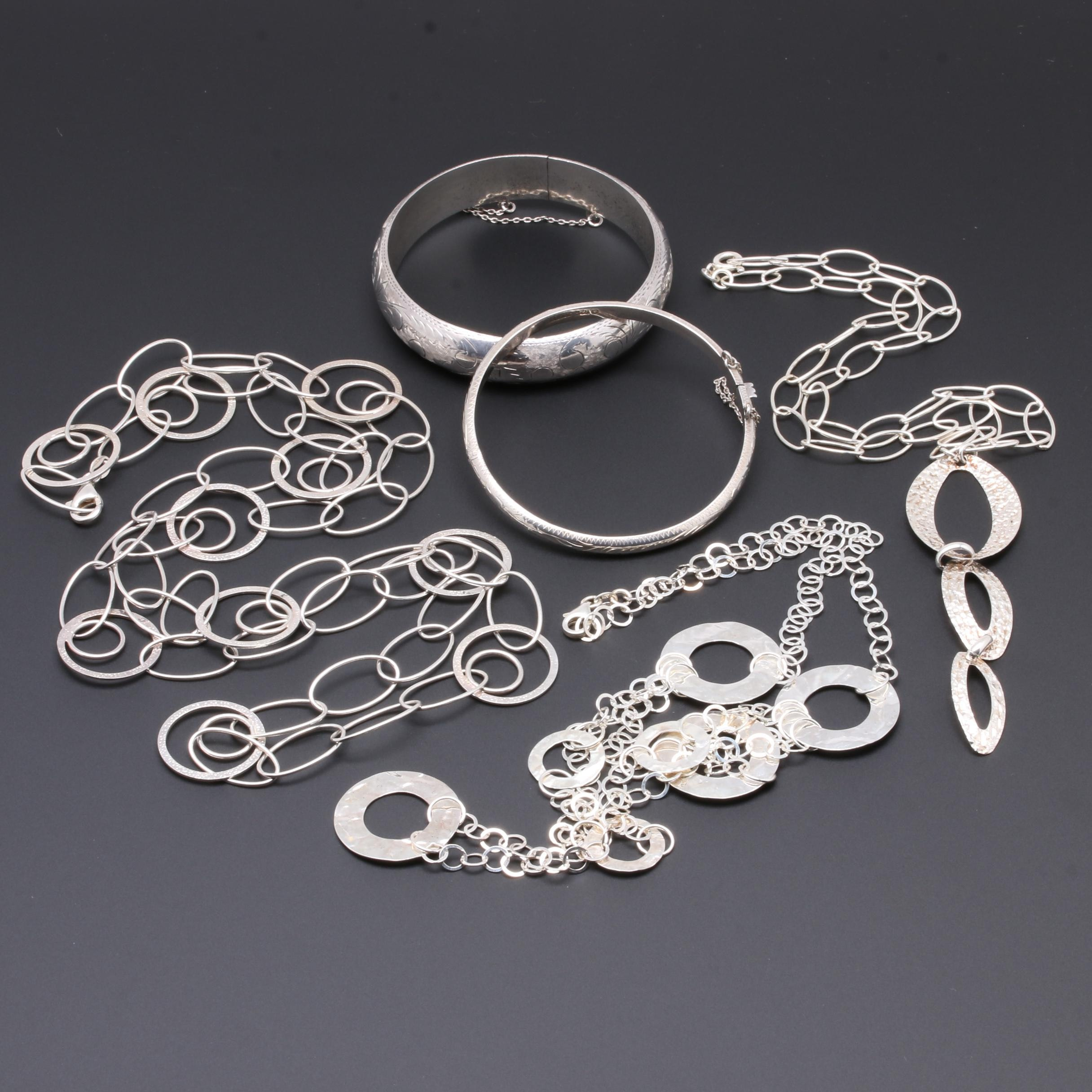Sterling Silver Jewelry Selection Including Textured Bangles
